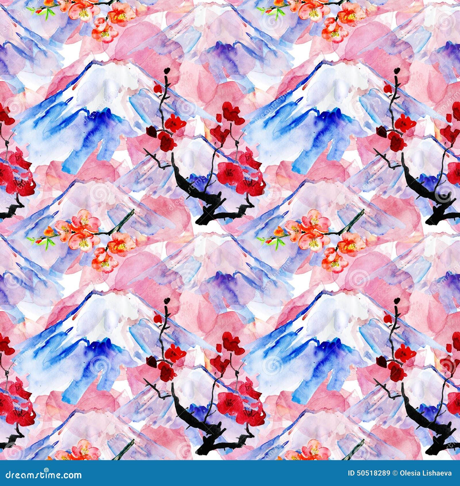 Предпосылка с горой Fujiyama и цветками