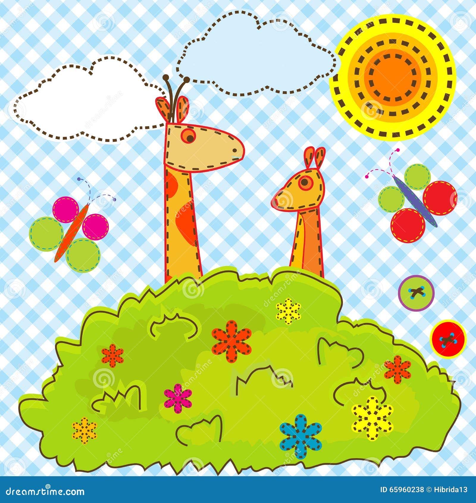 Предпосылка шаржа для детей с жирафом и кенгуру