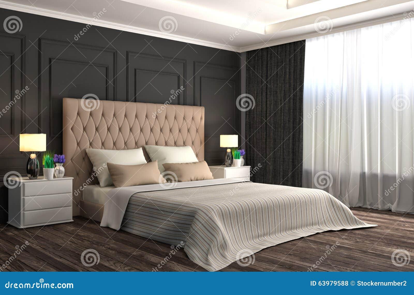 представленная молния окружающей спальни 3d нутряная иллюстрация 3d