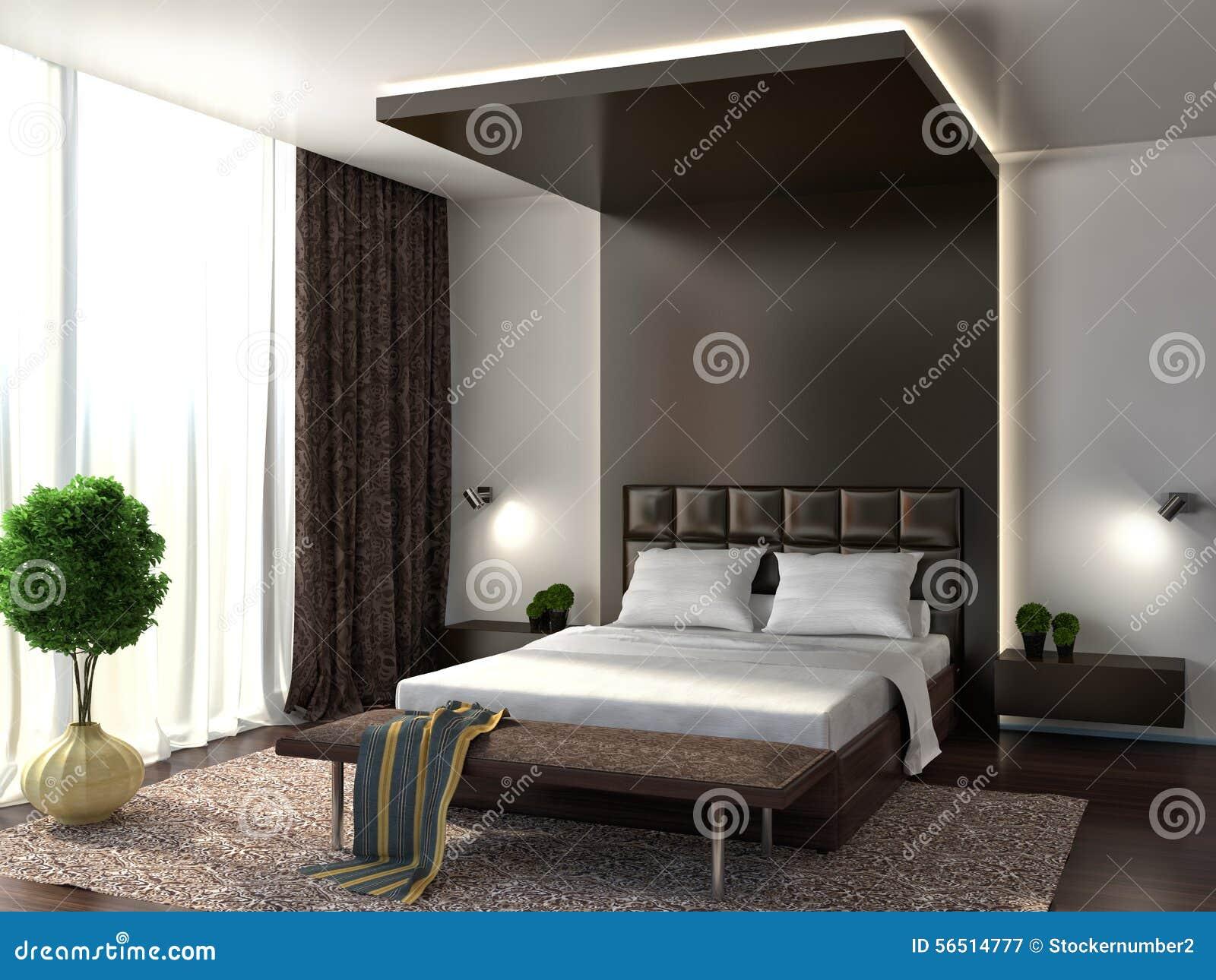 представленная молния окружающей спальни 3d нутряная brougham иллюстрация 3d