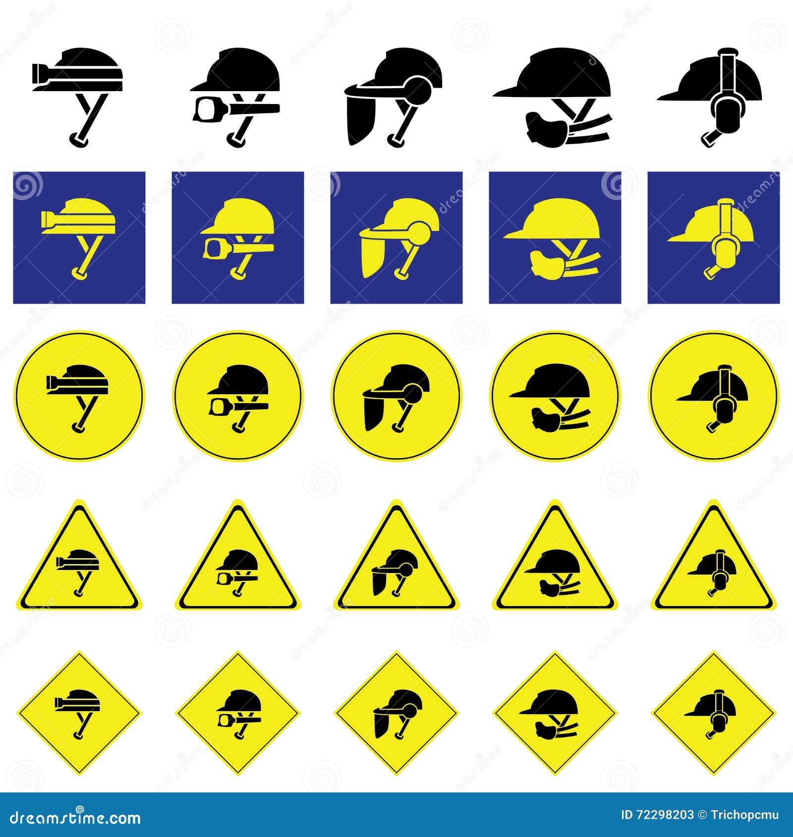 Download Предупредительный знак использования разнообразия шлема Иллюстрация вектора - иллюстрации насчитывающей конструкция, износ: 72298203