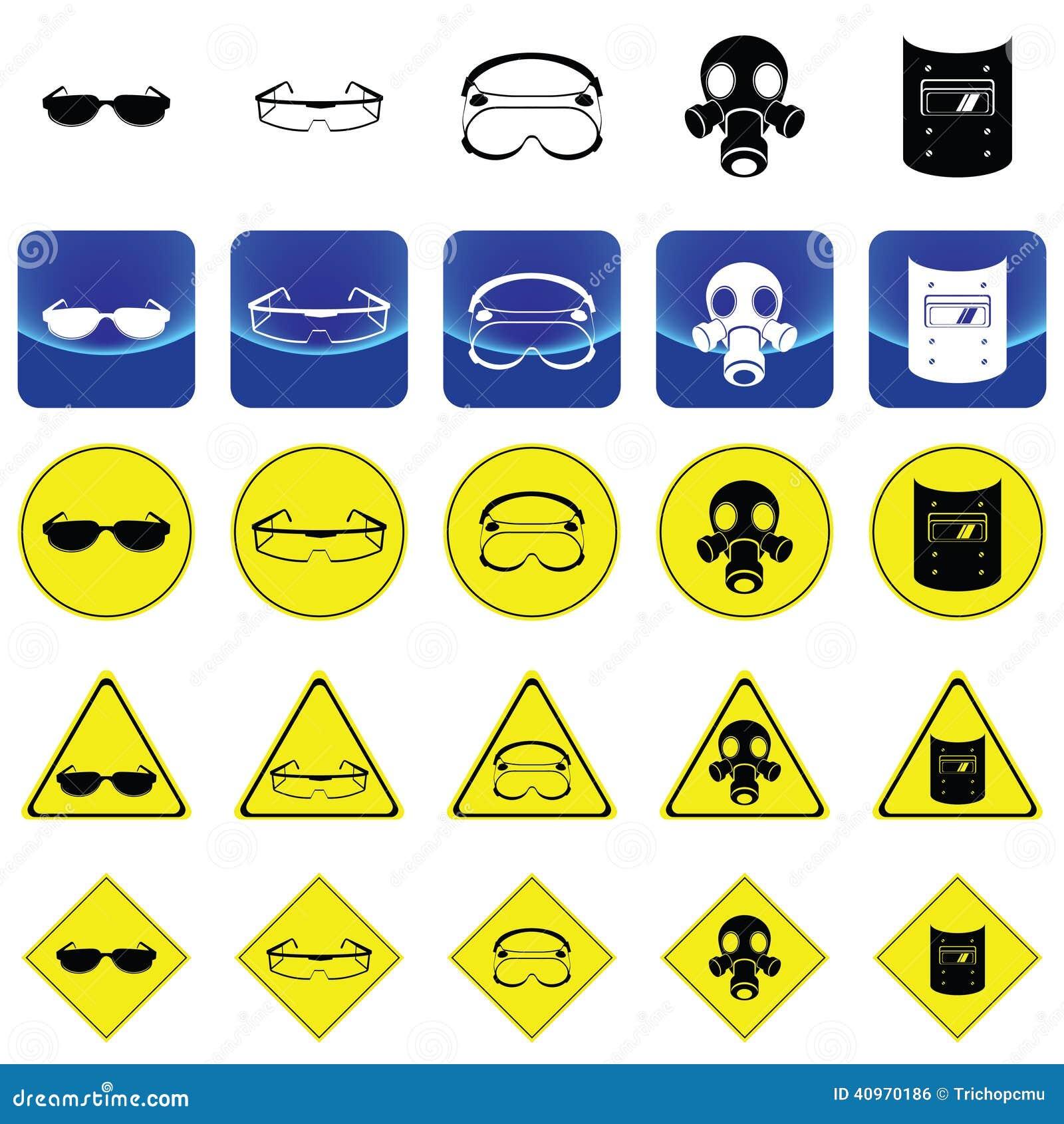 Предупредительный знак для носить вектор аксессуаров предохранения от глаз