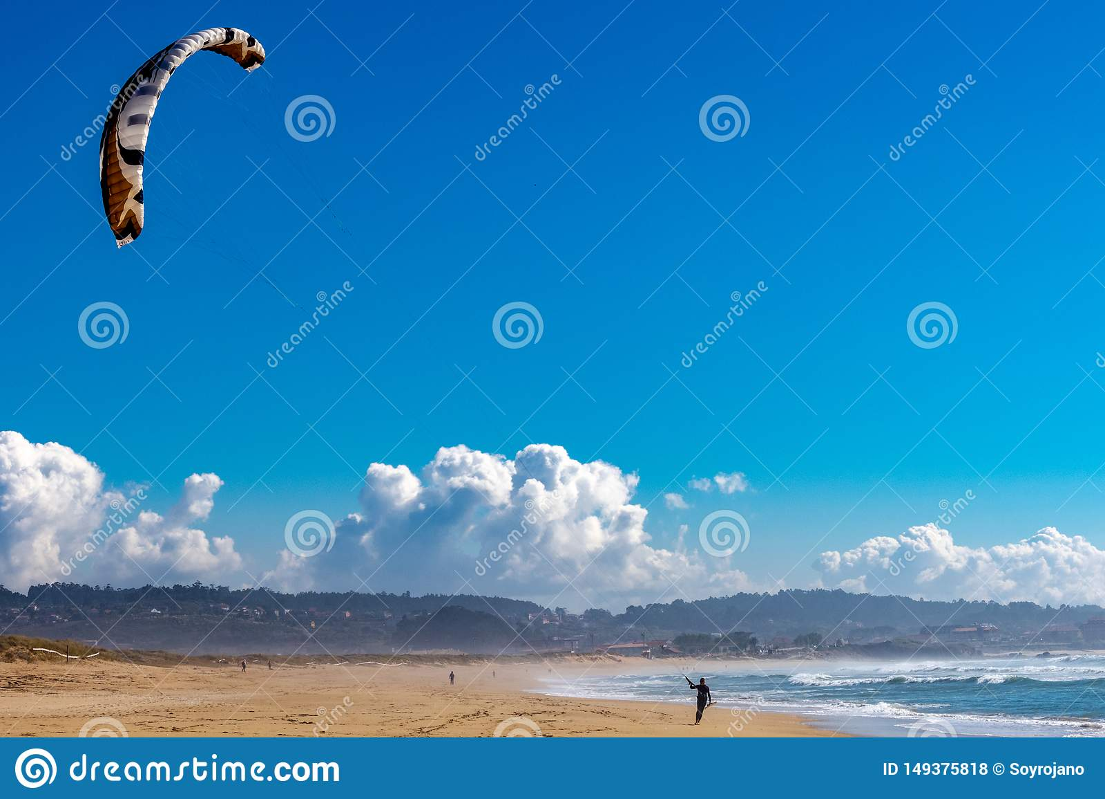 Прибой конька в пляже
