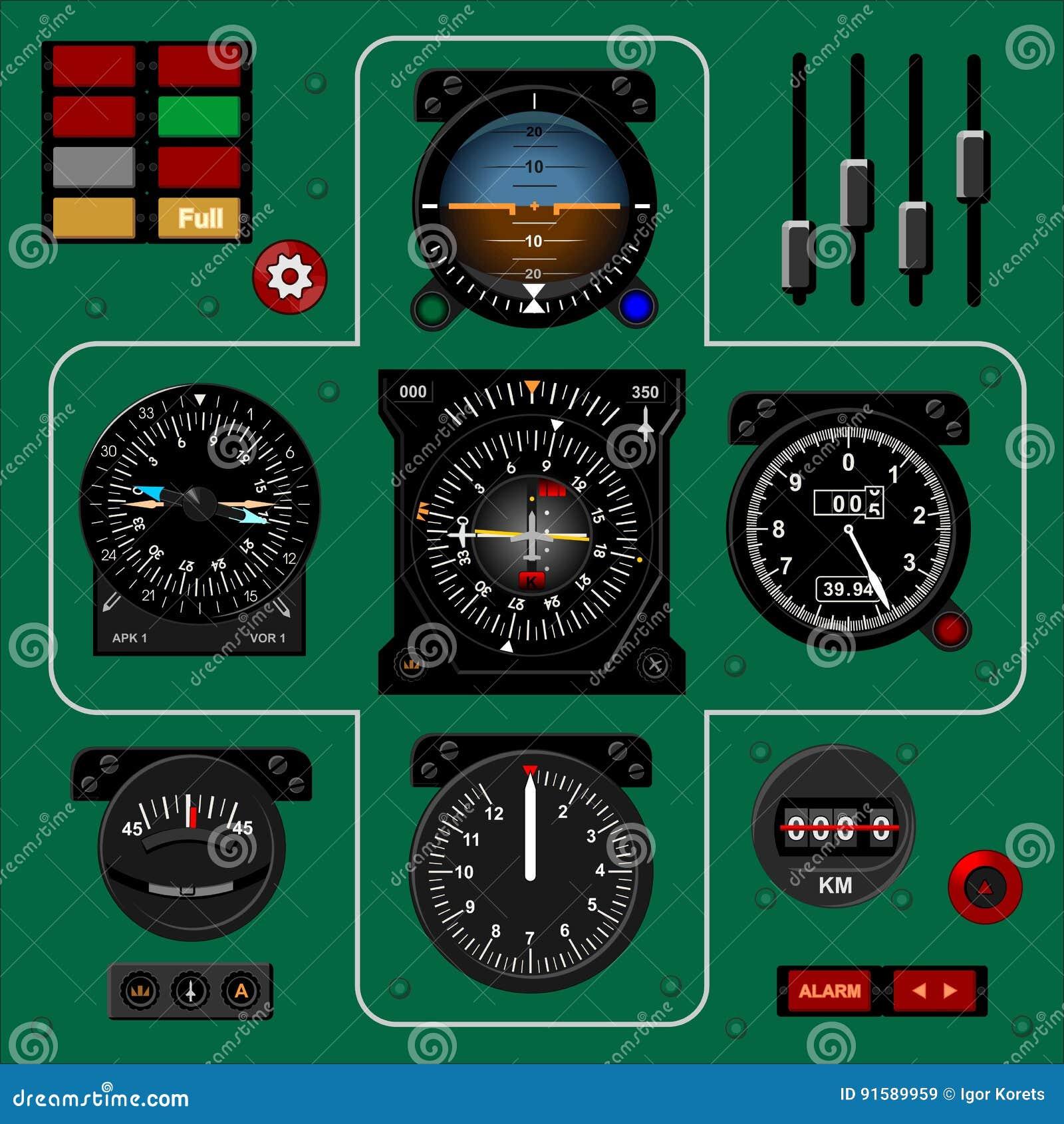 Приборный щиток самолета Приборная панель воздушных судн Реалистическая предпосылка