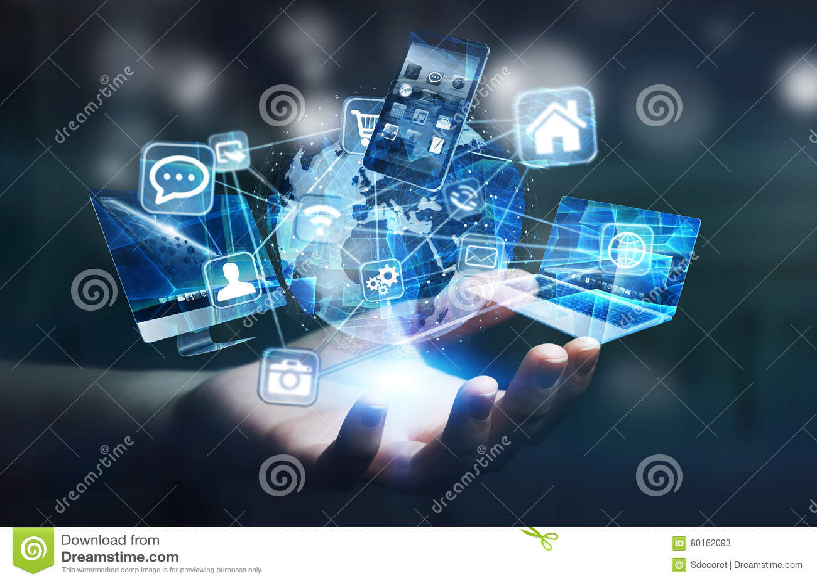 Приборы и значки техника соединились к цифровой земле планеты