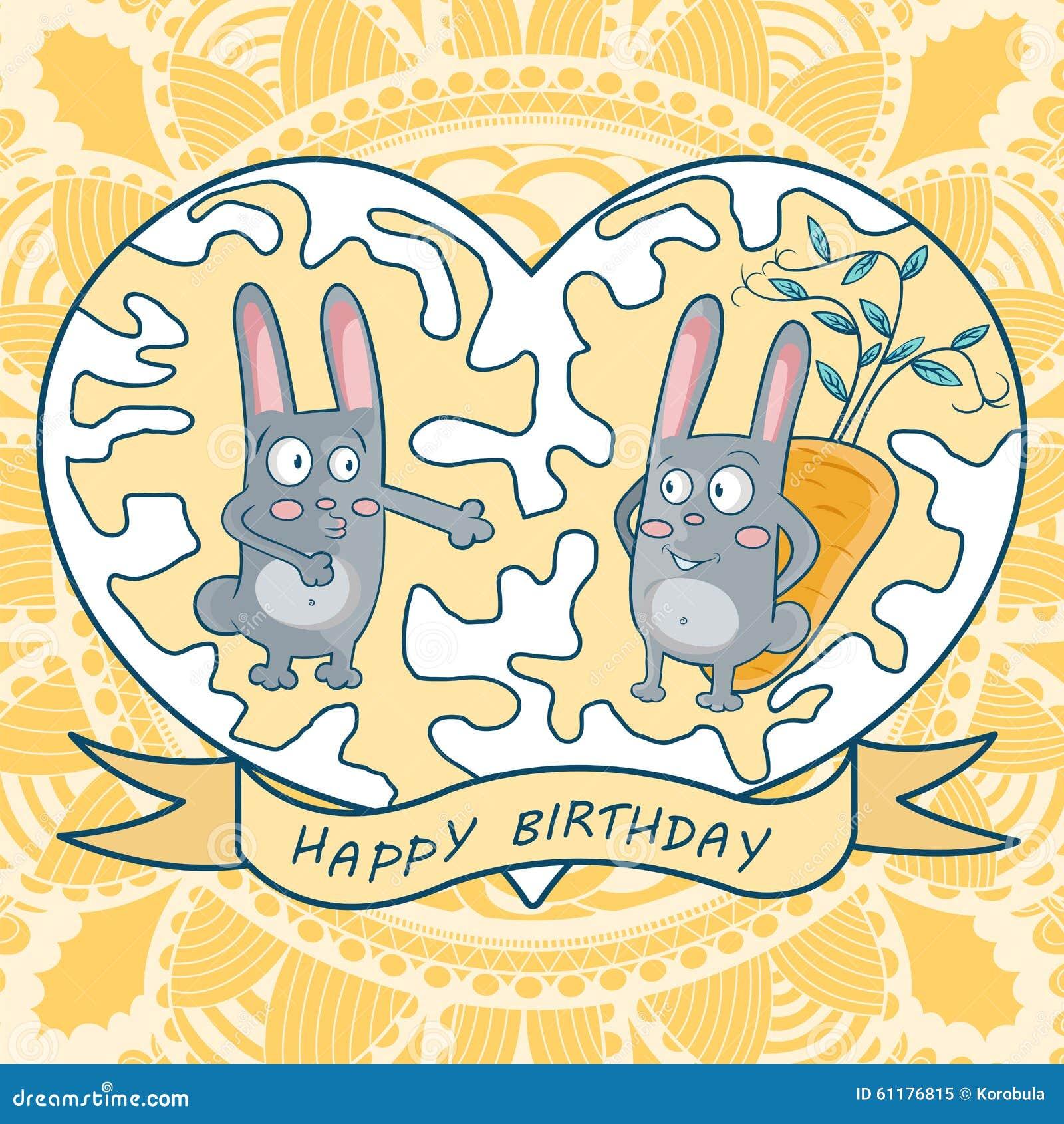 приветствие поздравительой открытки ко дню рождения счастливое 2 кролика, моркови, сердце
