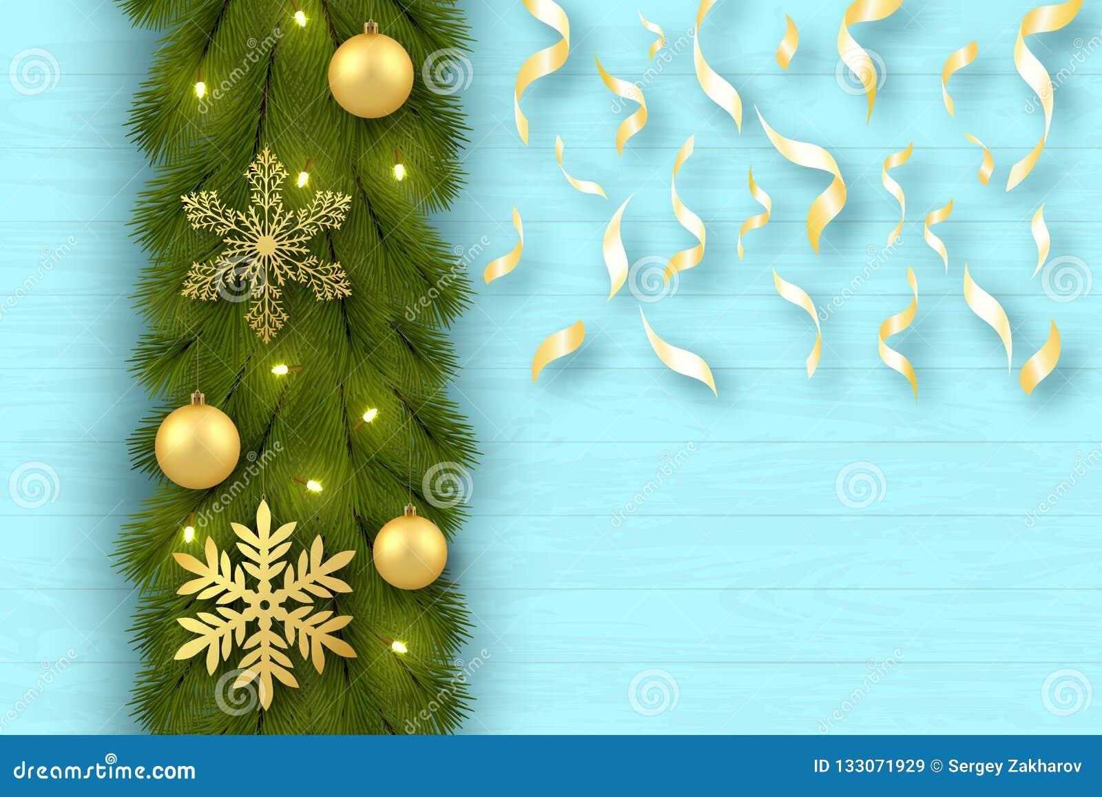 приветствие рождества карточки веселое предпосылка праздничная Ветви дерева аранжированы вертикально Игрушки, золотые шарики, сне