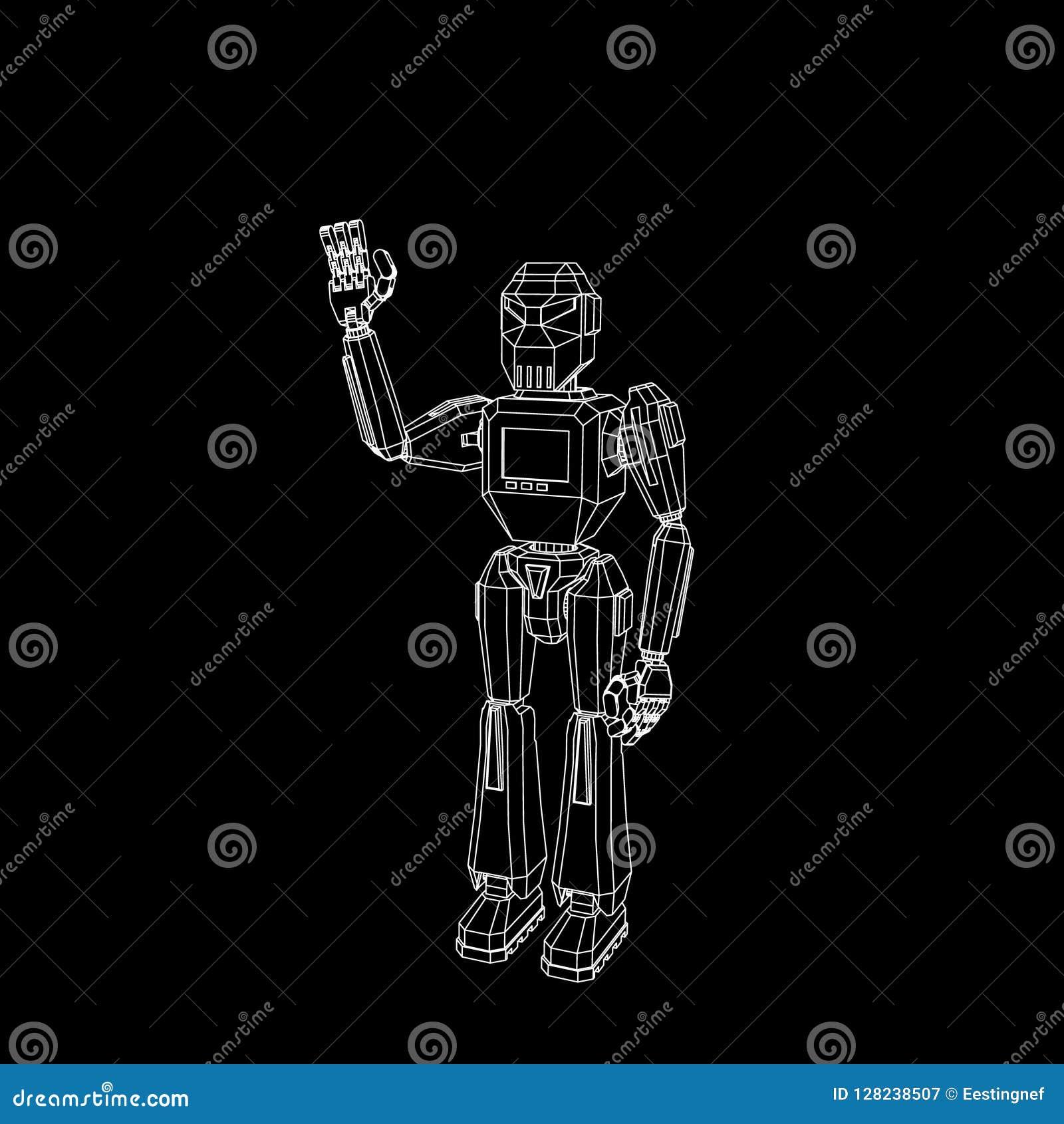 Приветствие характера робота Изолировано на черной предпосылке Вектор o