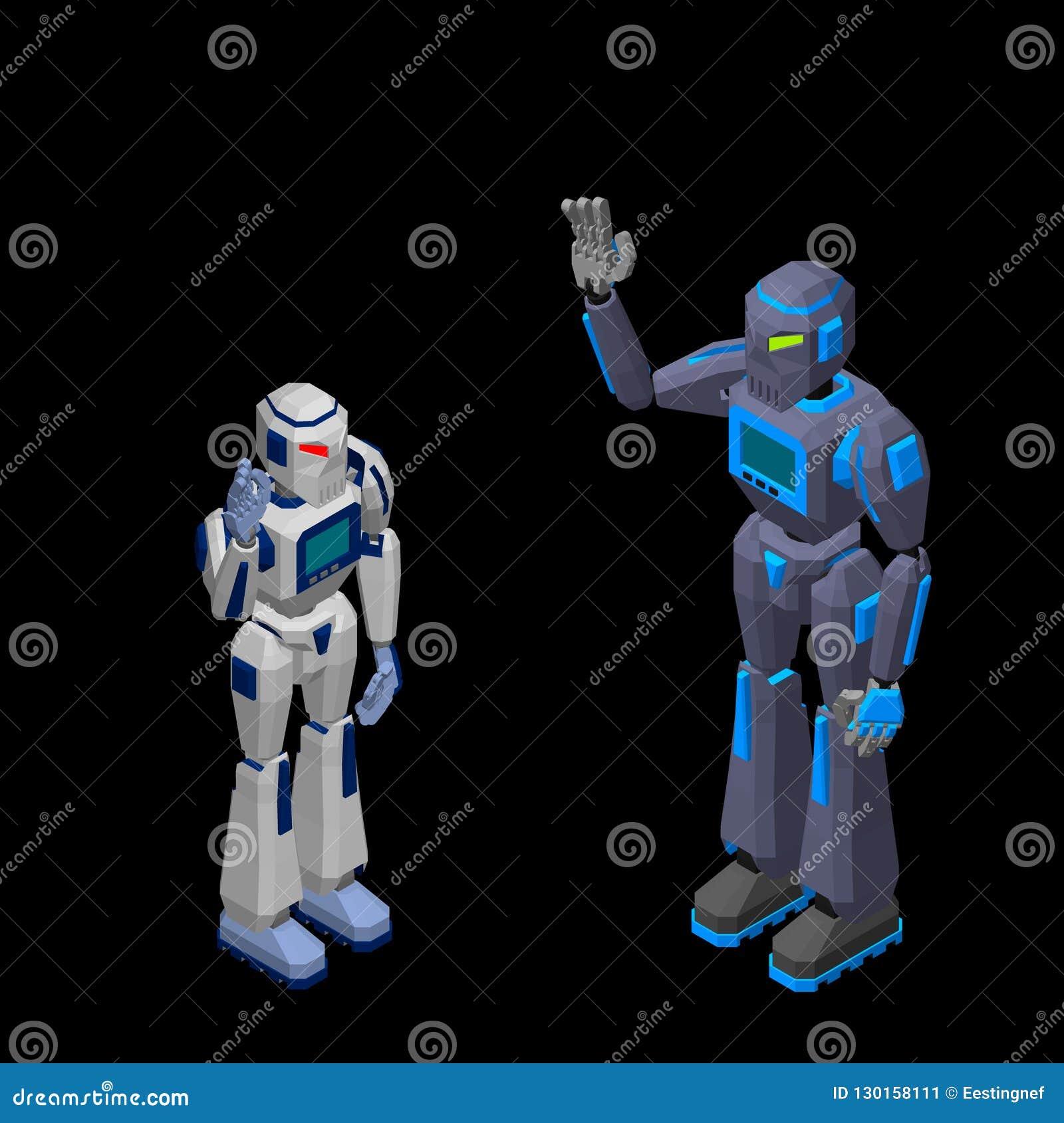 Приветствие характера робота Изолировано на черной предпосылке 3d Vecto