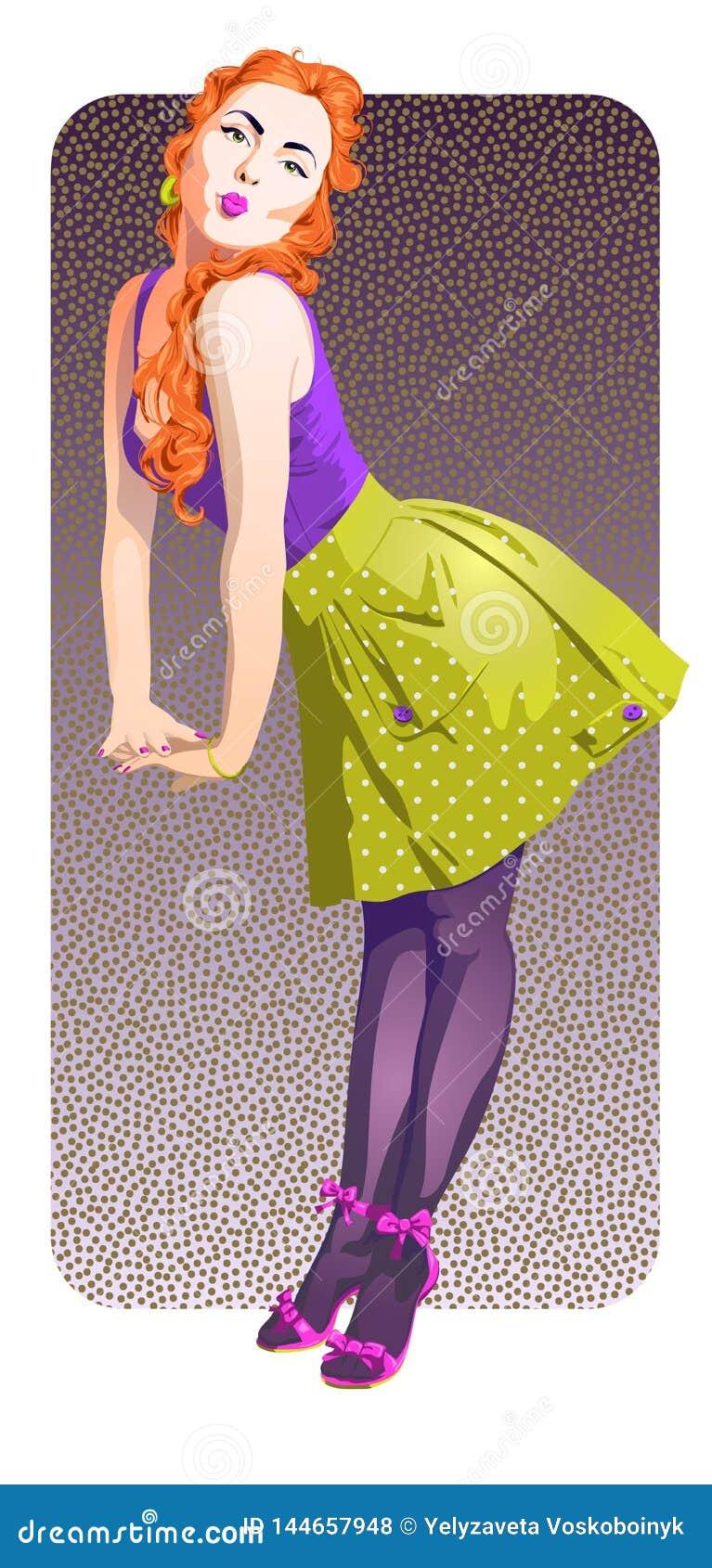 Привлекательная девушка штыря-вверх с пламенистыми красными волосами