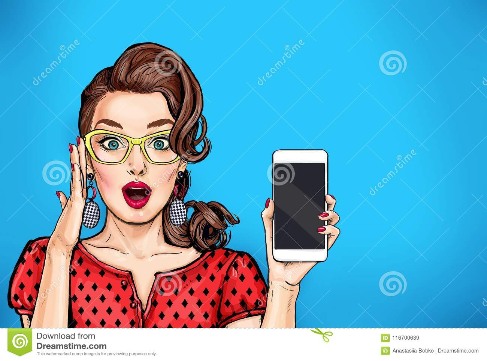 Привлекательная сексуальная девушка в спецификациях с телефоном в руке в шуточном стиле Женщина искусства шипучки
