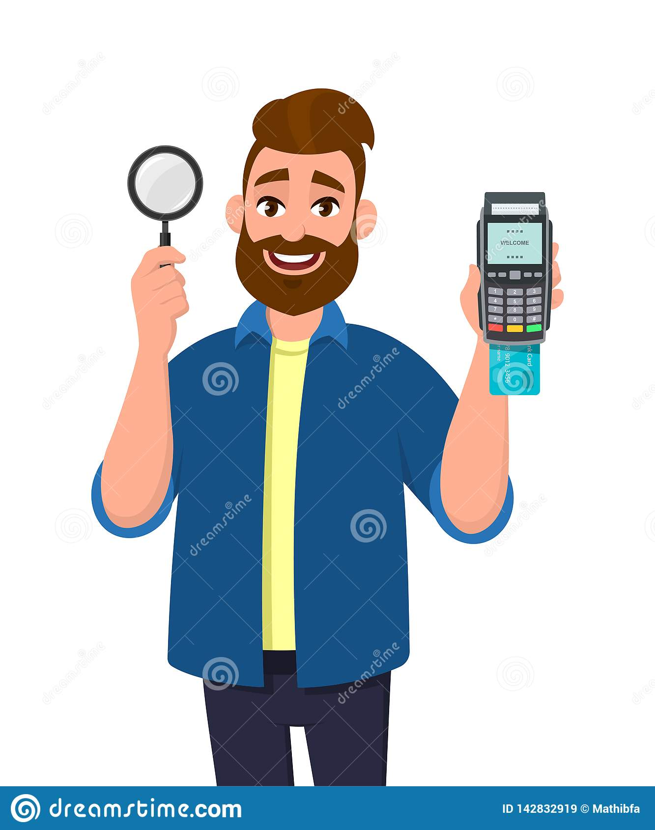 Привлекательный молодой бородатый показ человека/дебетовая карта лупа удержания и кредит/быстро проводя пальцем по машине или тер