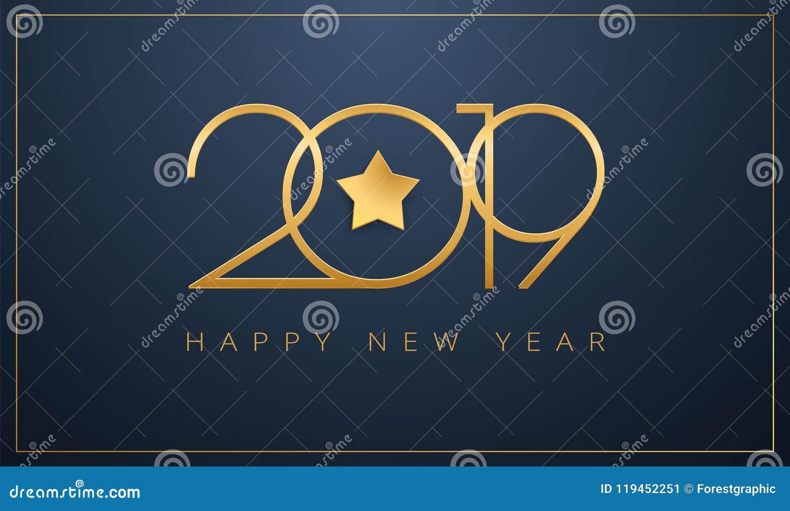 Пригладьте счастливый дизайн звезды поздравительной открытки Нового Года 2019 золотой для c