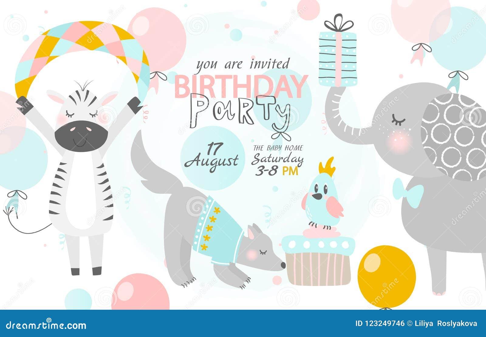 Приглашение дня рождения с милой зеброй, собакой и слоном также вектор иллюстрации притяжки corel