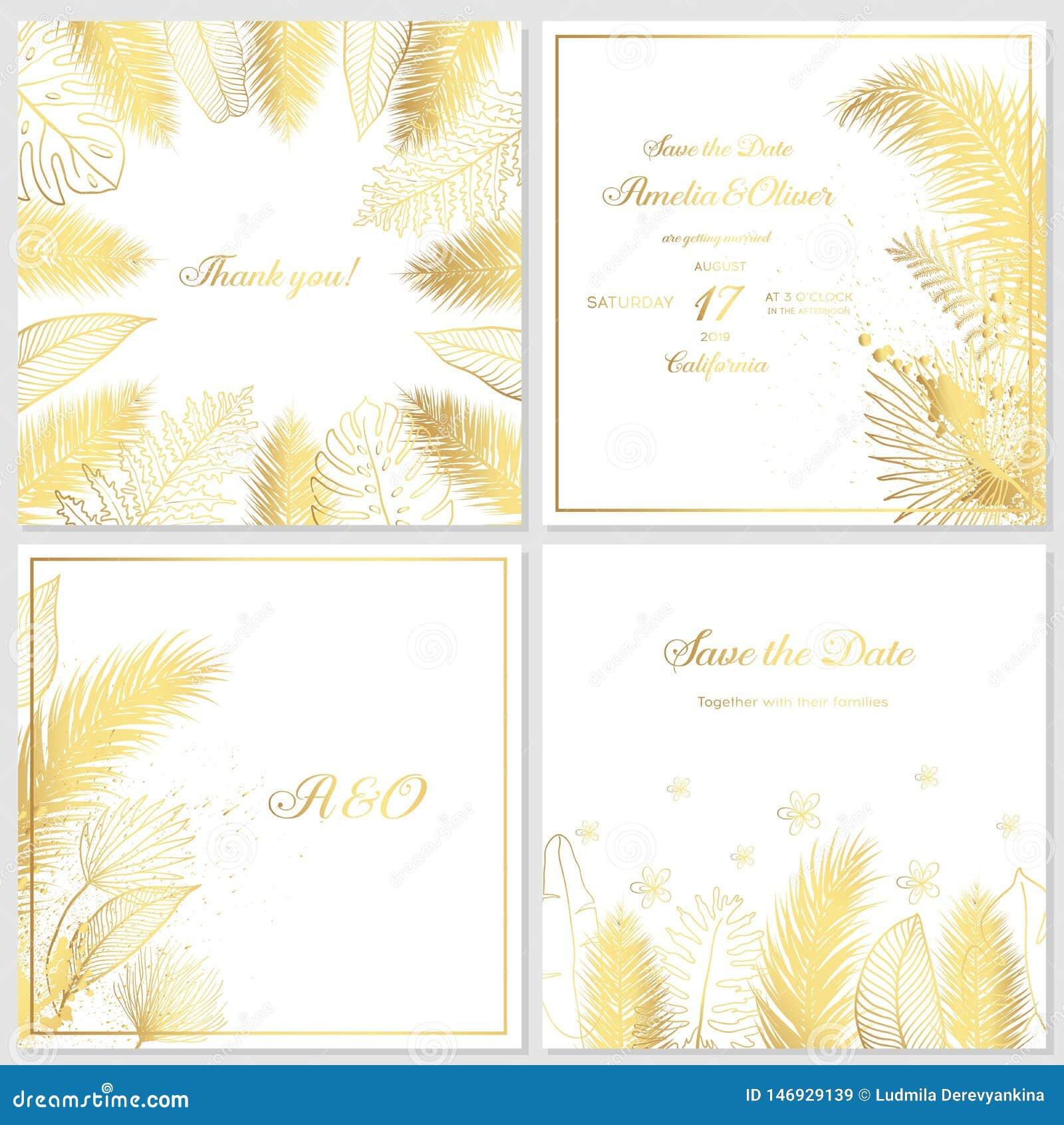 Приглашение свадьбы золота с тропическими листьями Роскошные карты приглашения свадьбы с текстурой золота мраморной и геометричес