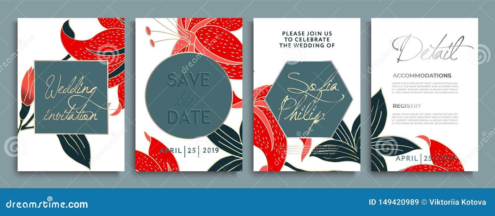 Приглашение свадьбы с цветками и листьями на золоте, темной текстуре роскошная карта на предпосылках золота, художественные крышк