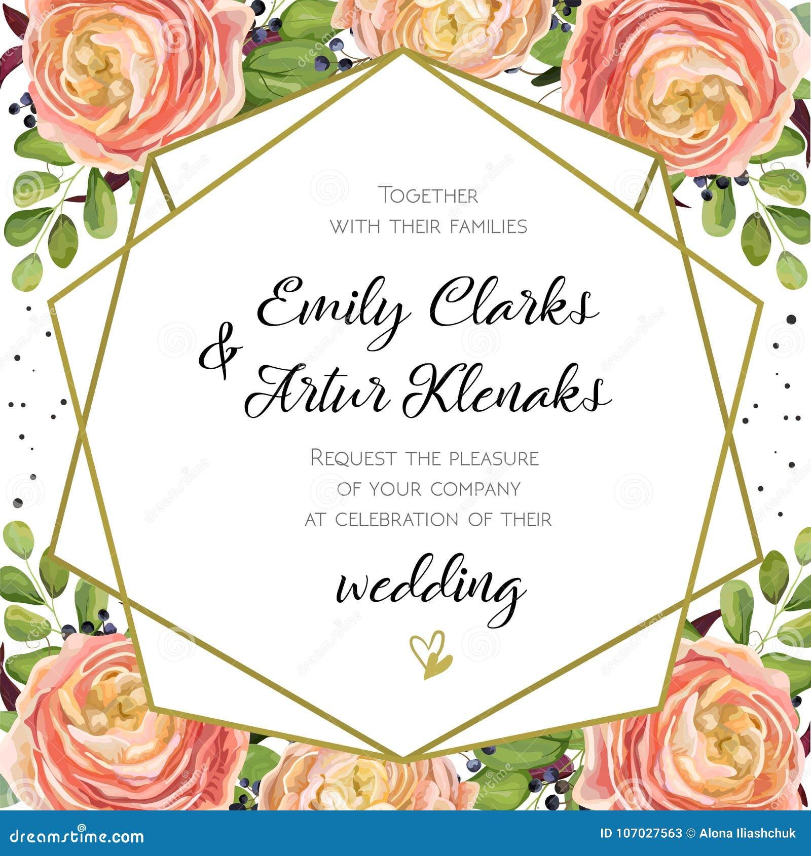 Приглашение свадьбы, флористическое приглашает дизайн карточки с розовым ro персика