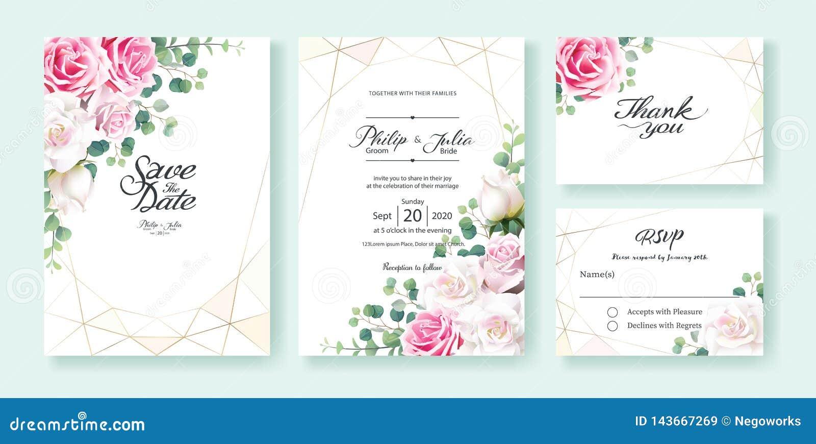 Приглашение свадьбы цветков пинка и белой розы, сохраняет дату, спасибо, шаблон дизайна карты rsvp r Серебряный доллар