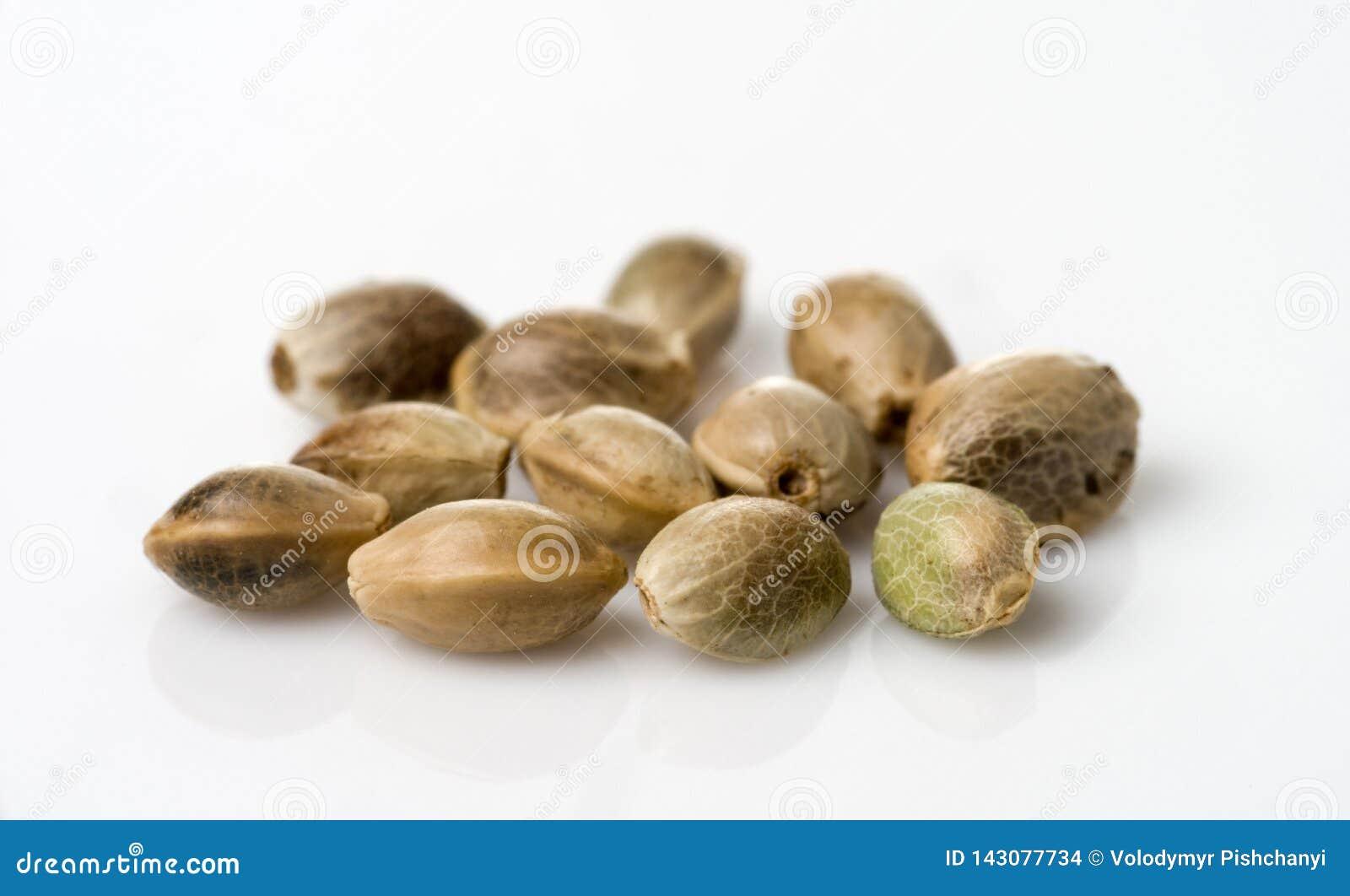Пригорошня семян конопли Селективный фокус