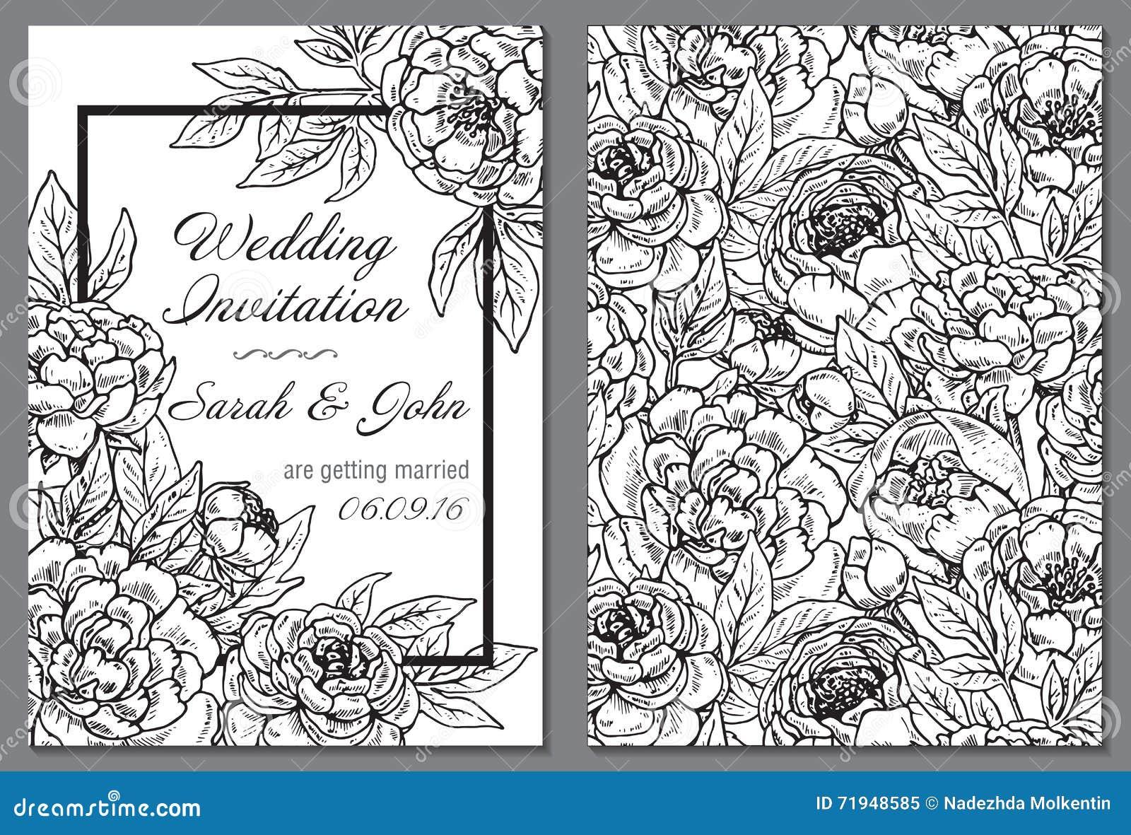 Приглашение свадьбы с черно-белыми цветками пиона