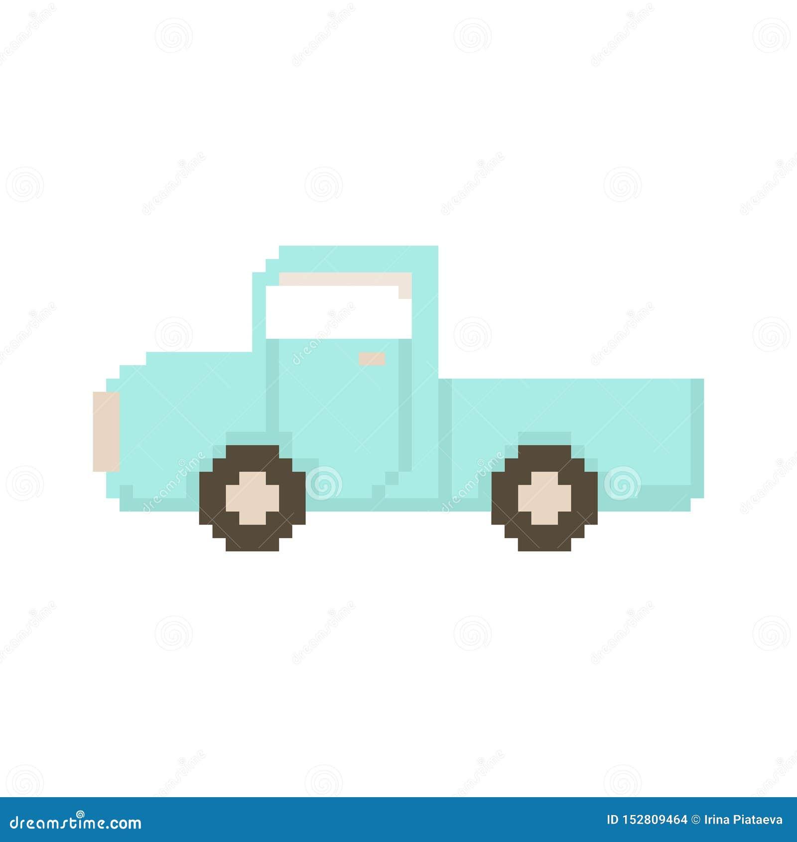 Приемистость изолированная на белой предпосылке Деревня автомобиля Графики для игр иллюстрация вектора 8 битов в стиле искусства
