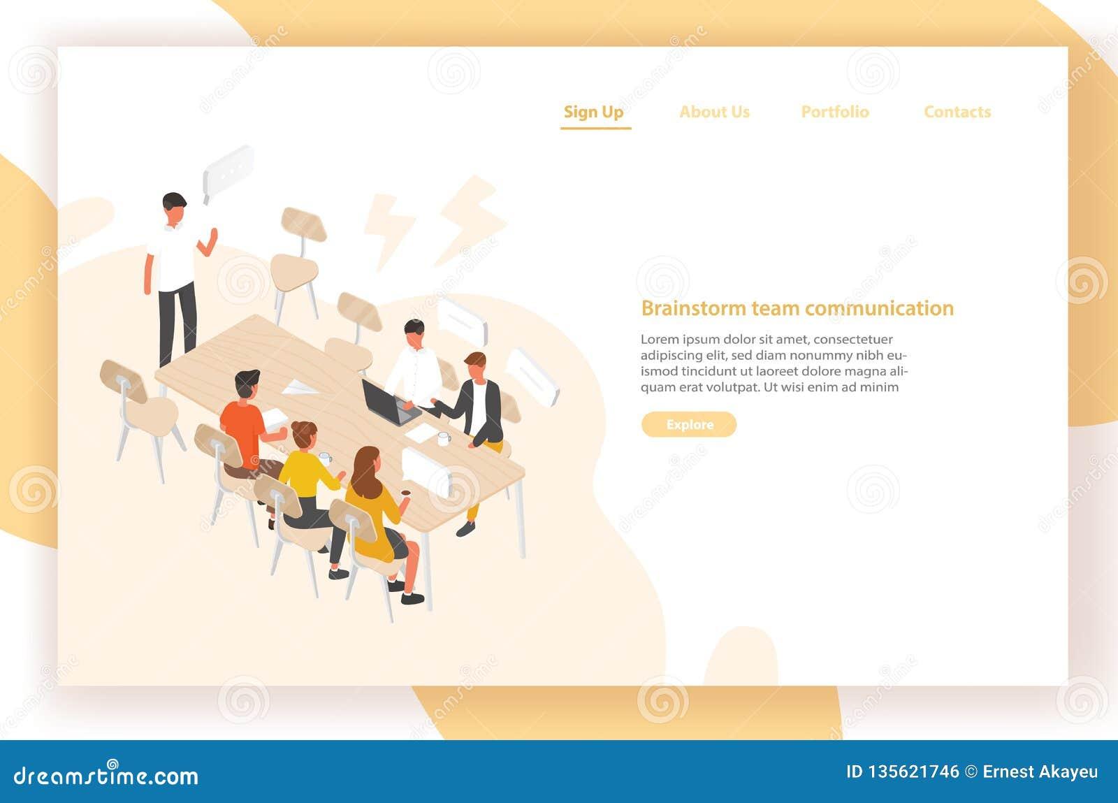 Приземляясь шаблон страницы с группой людей или работниками офиса сидя на таблице и говоря друг к другу Встреча работы