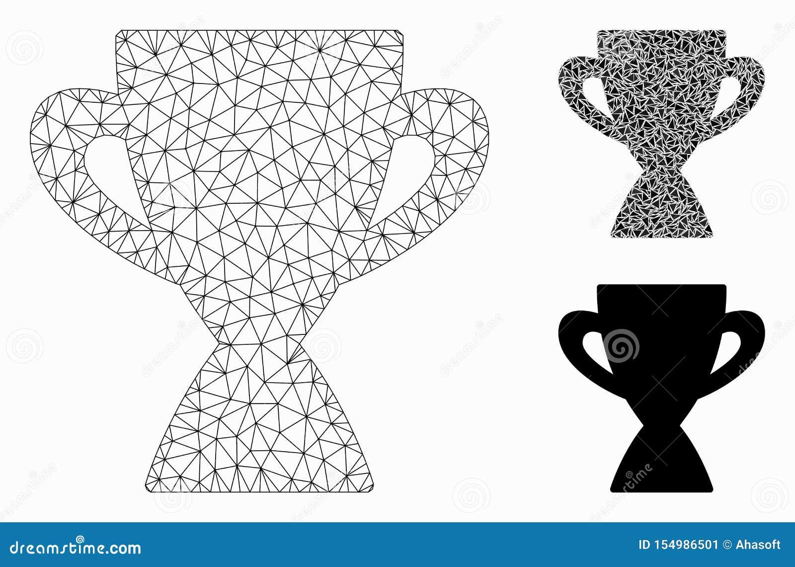 Призовой значок мозаики сетевой модели и треугольника ячеистой сети вектора чашки