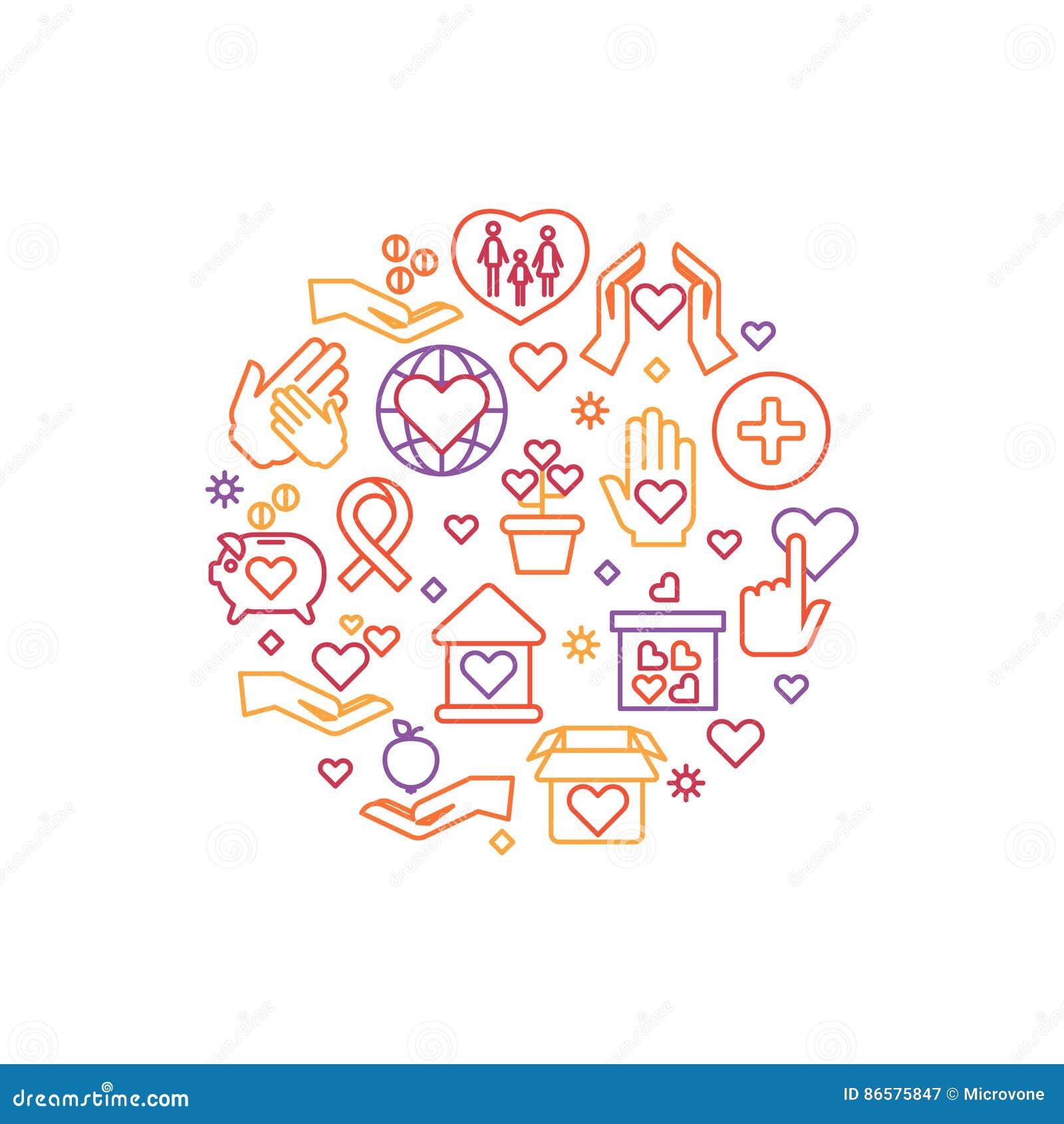 Призрение, забота, концепция вектора помощи, некоммерческая организация и логотип волонтера