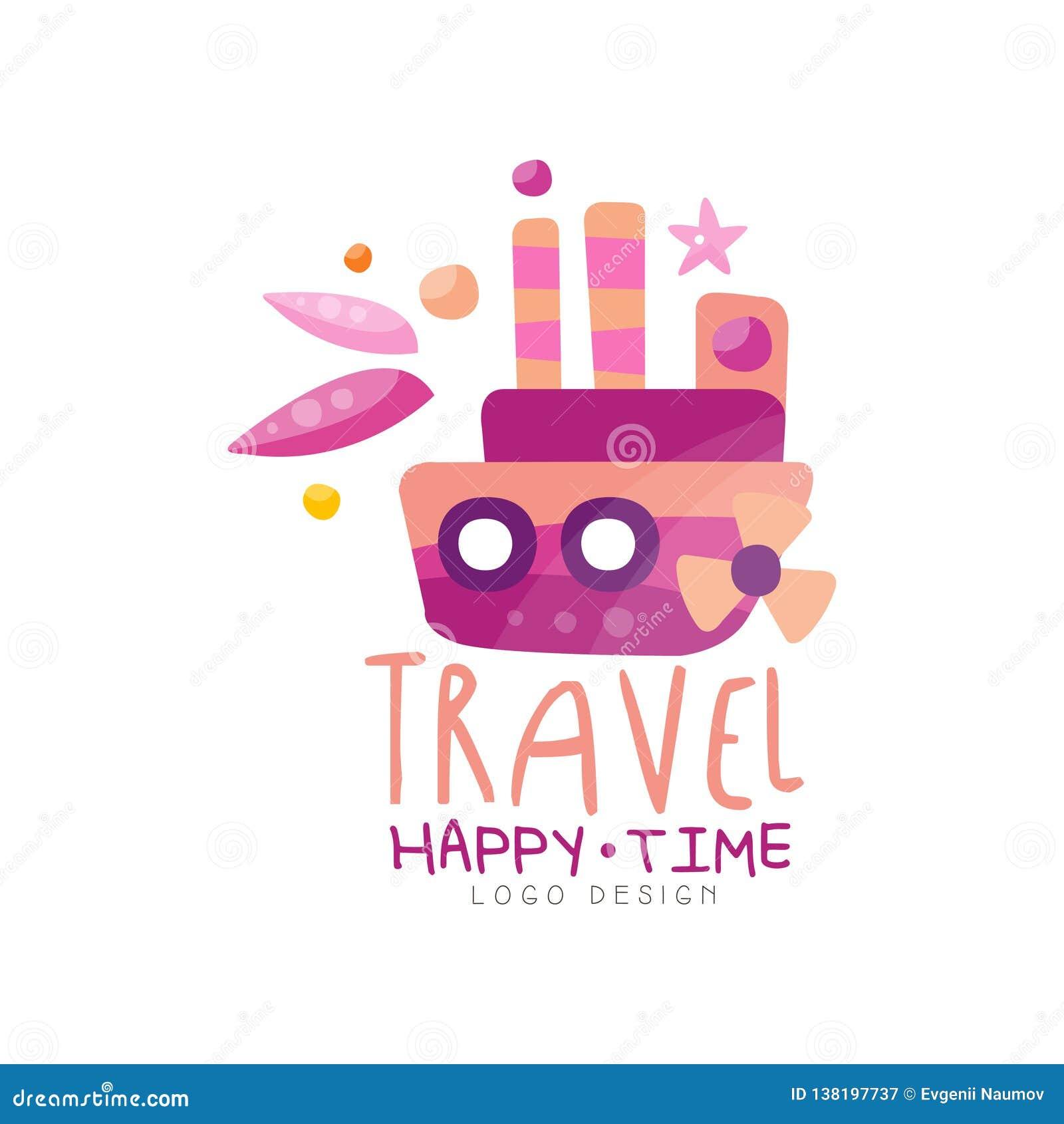 Приключение, счастливый дизайн логотипа времени, летние каникулы, перемещение, круиз, иллюстрация вектора ярлыка туристского аген