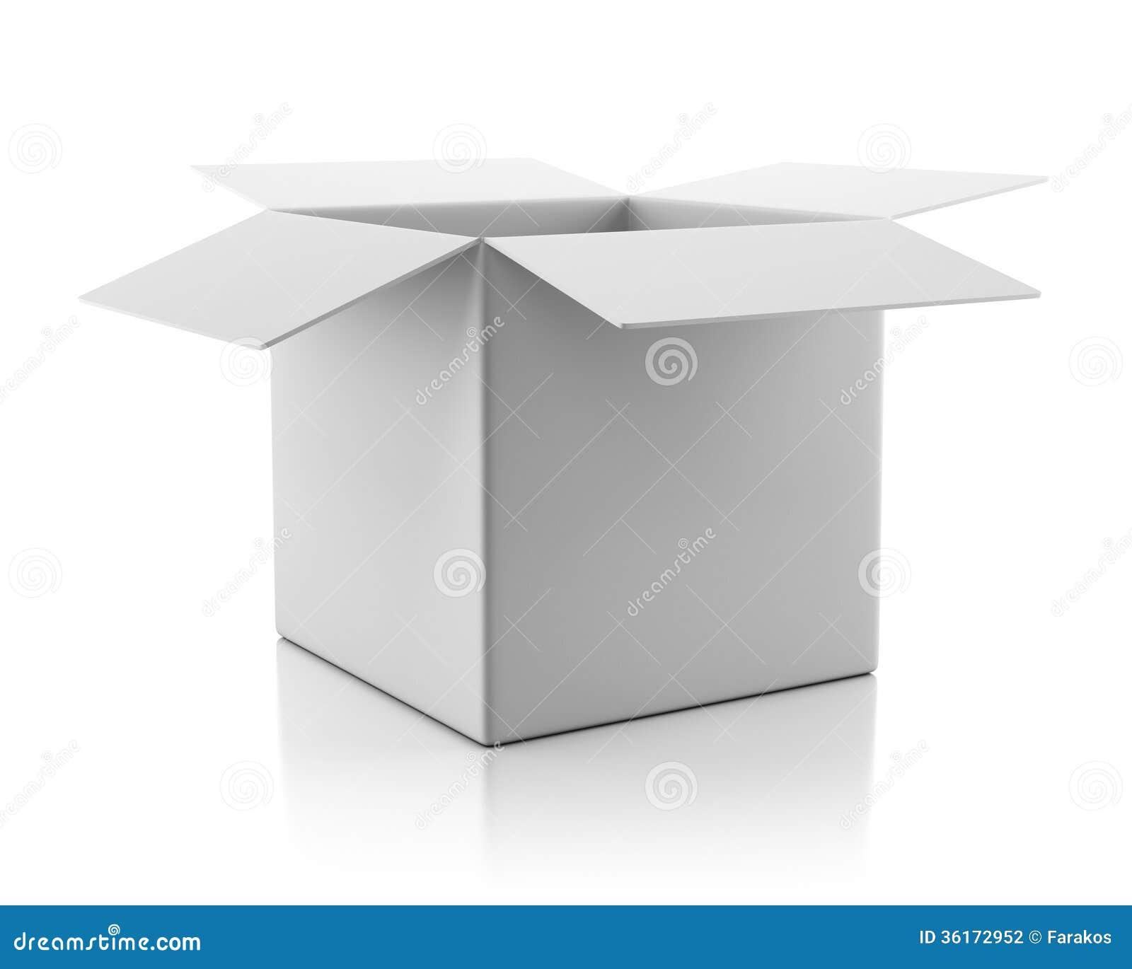 Прикройте открытую пустую белую картонную коробку
