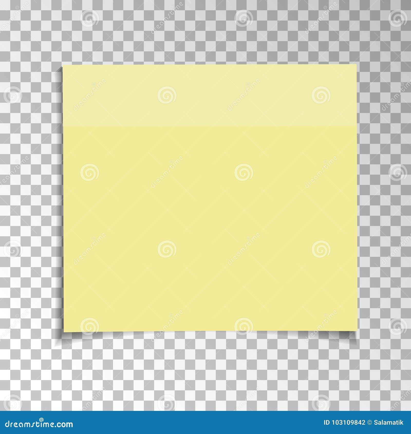 Примечание офиса желтое бумажное липкое изолированное на прозрачной предпосылке Шаблон для ваших проектов также вектор иллюстраци
