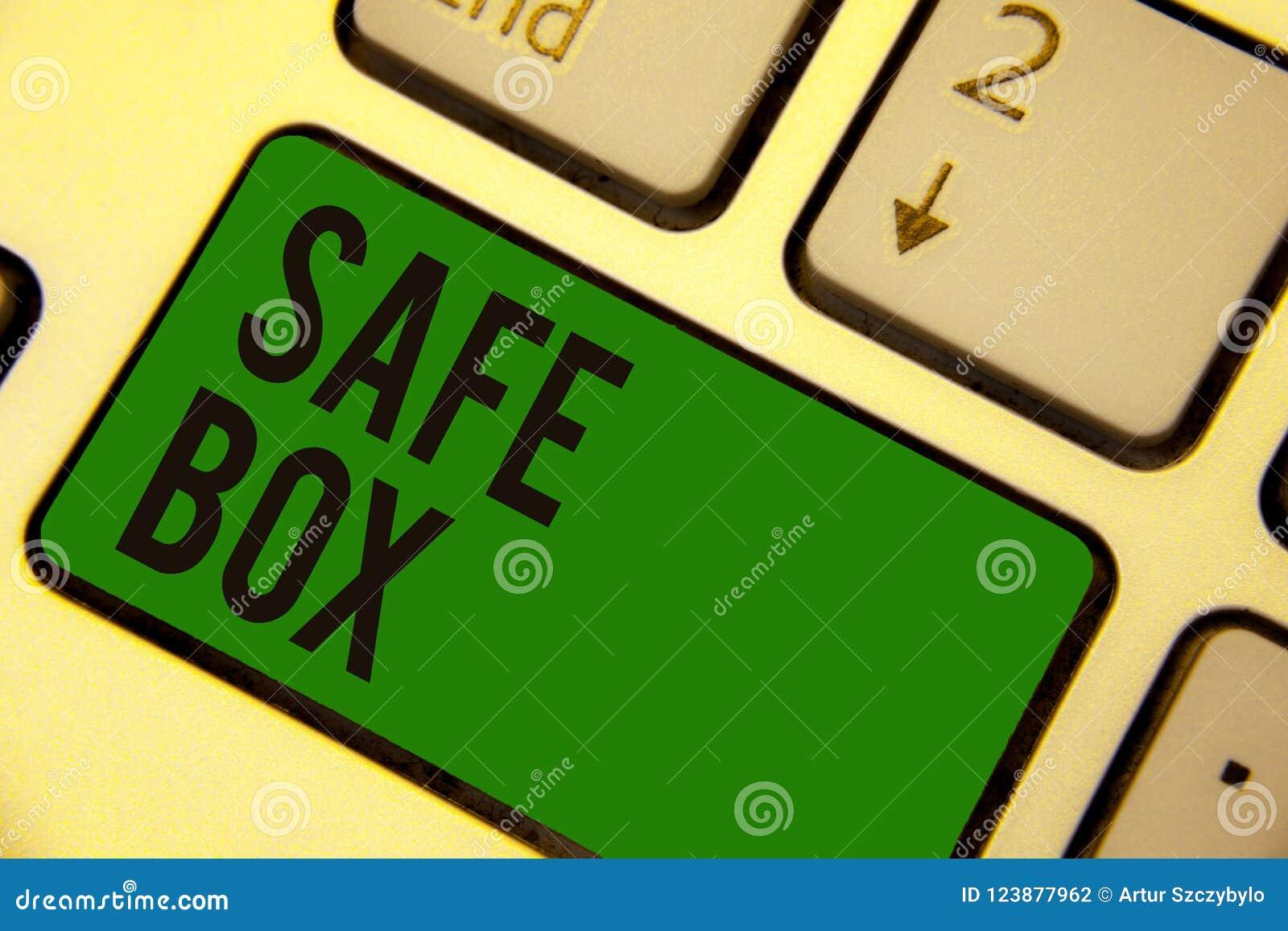 Примечание сочинительства показывая безопасную коробку Фото дела showcasing структура a малая где вы можете держать важные или це