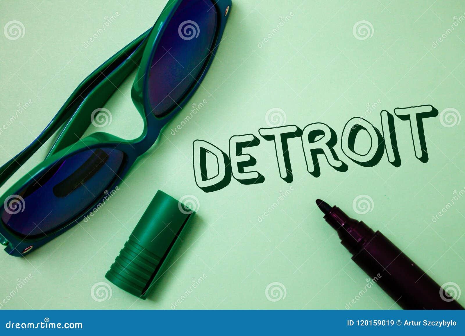 Примечание сочинительства показывая Детройт Город фото дела showcasing в столице Соединенных Штатов Америки mes идей Мичигана Mot