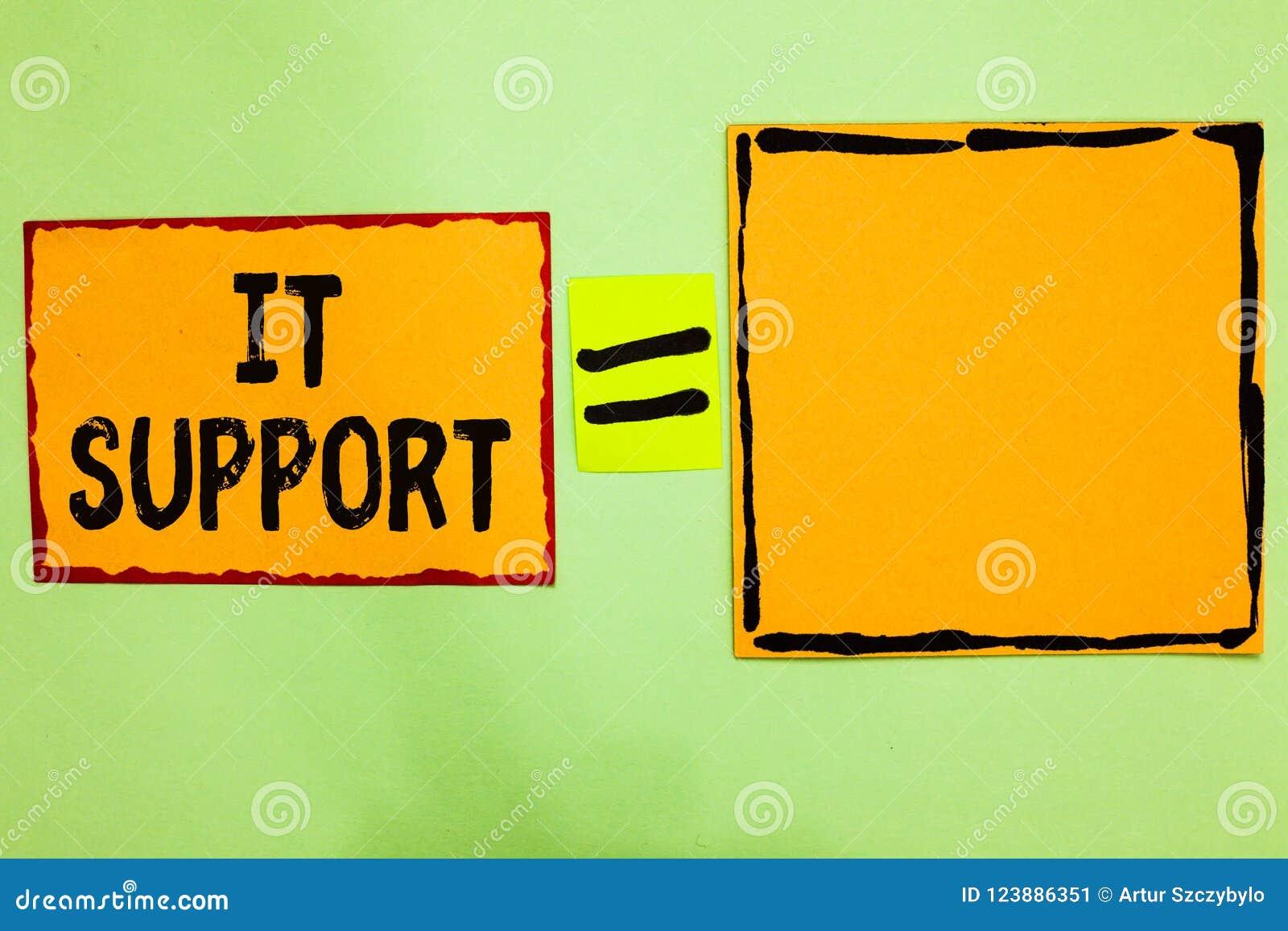 Примечание сочинительства показывая ему поддержку Помощь lending фото дела showcasing о информационных технологиях и относительны