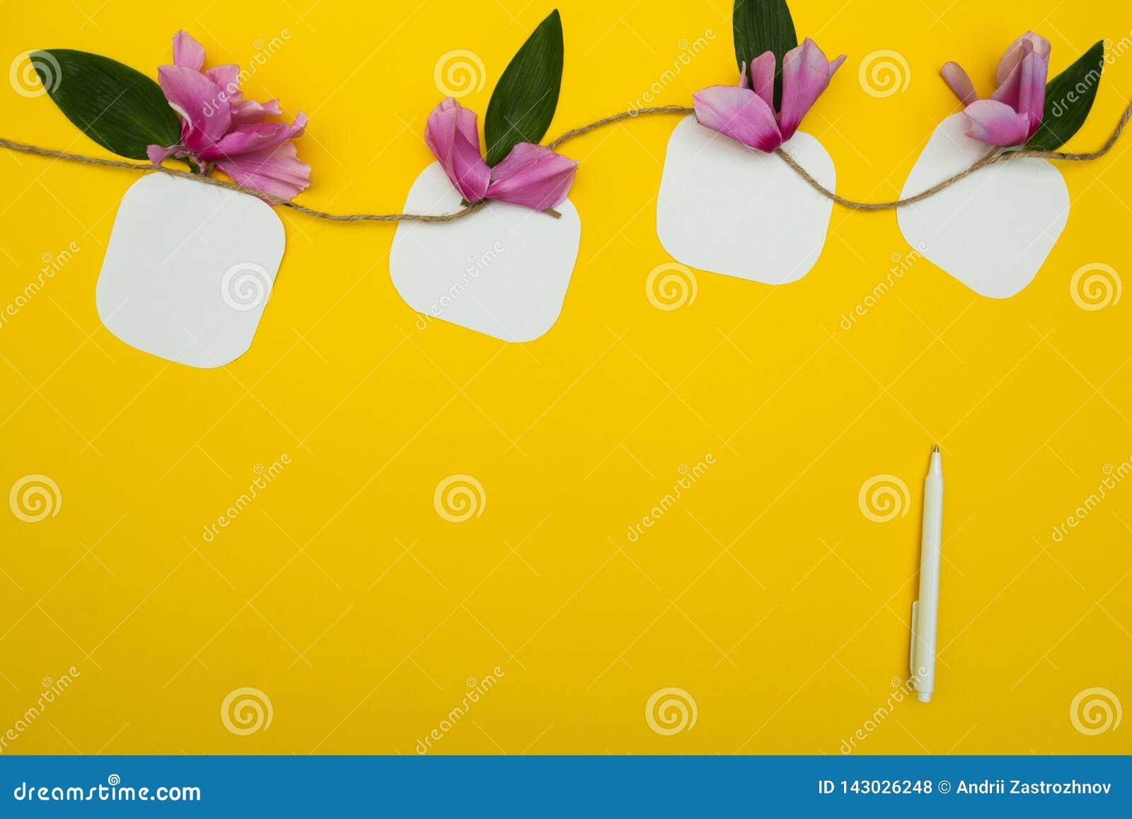 4 примечания на строке с цветками на желтых предпосылке, ручке и месте для текста