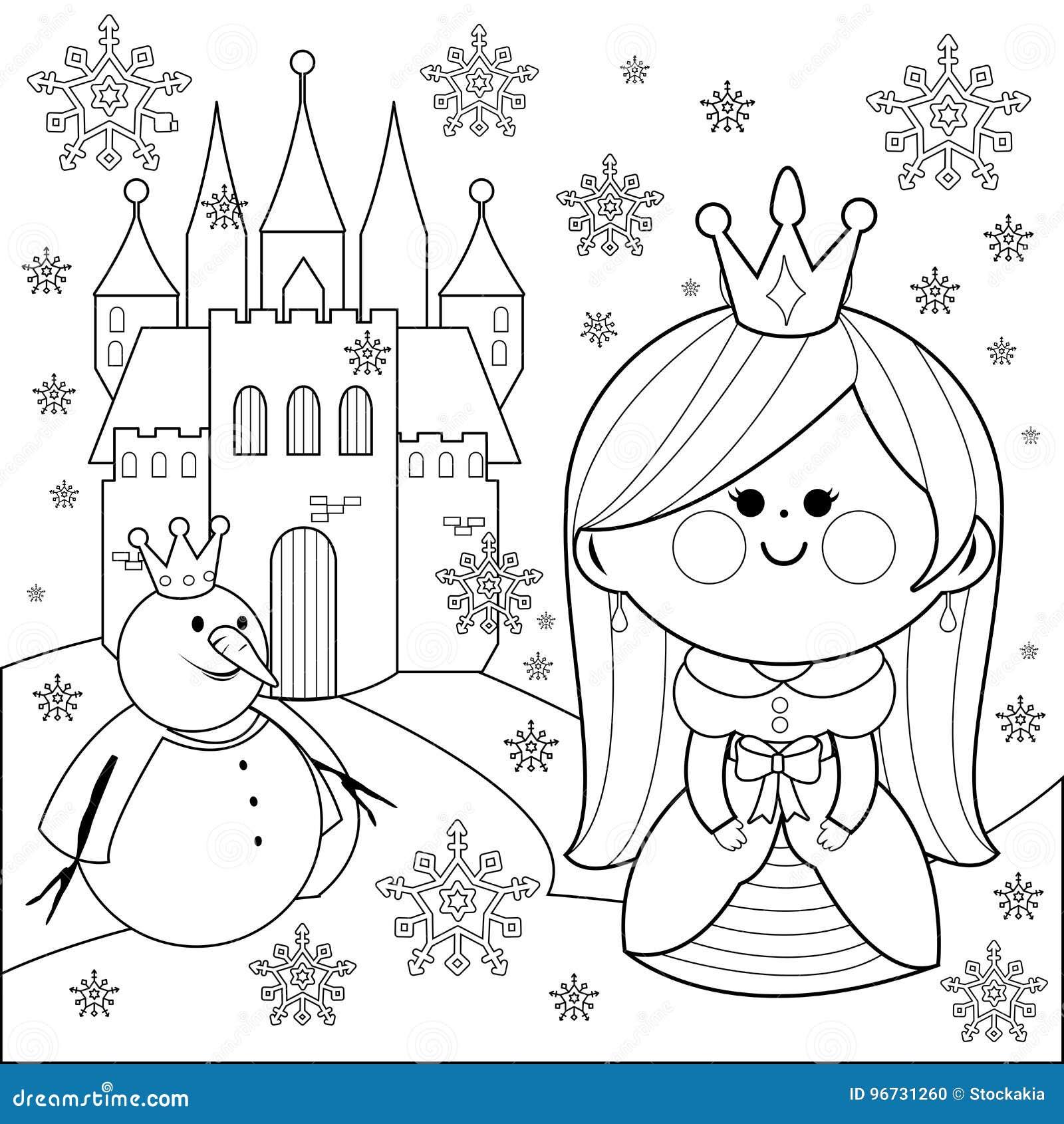 принцесса в снеге с замком и снеговиком страница книжка