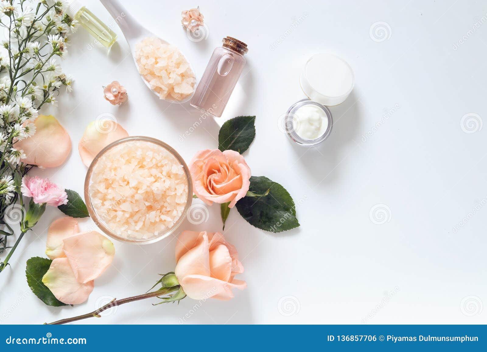 Принципиальная схема внимательности кожи плоские положения стиля выходов skincare в пакете с пустым ярлыком с естественными матер