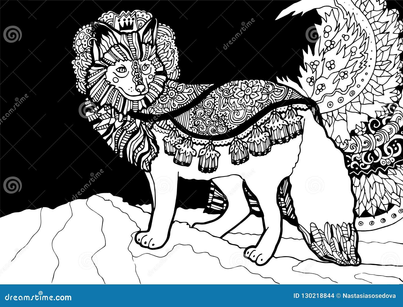принц лисы фантазии с флористическим украшением иллюстрация