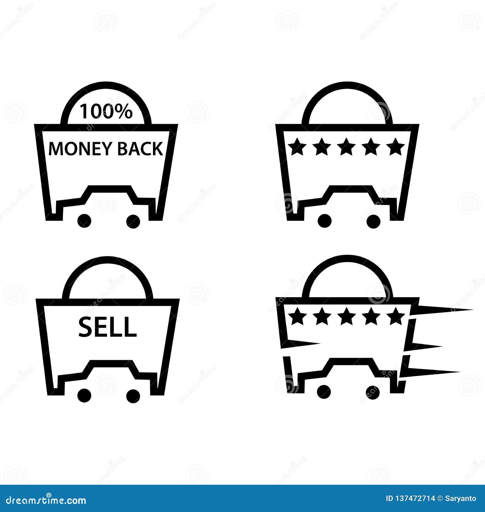 Приобретение автомобиля и значки продажи, плоский дизайн
