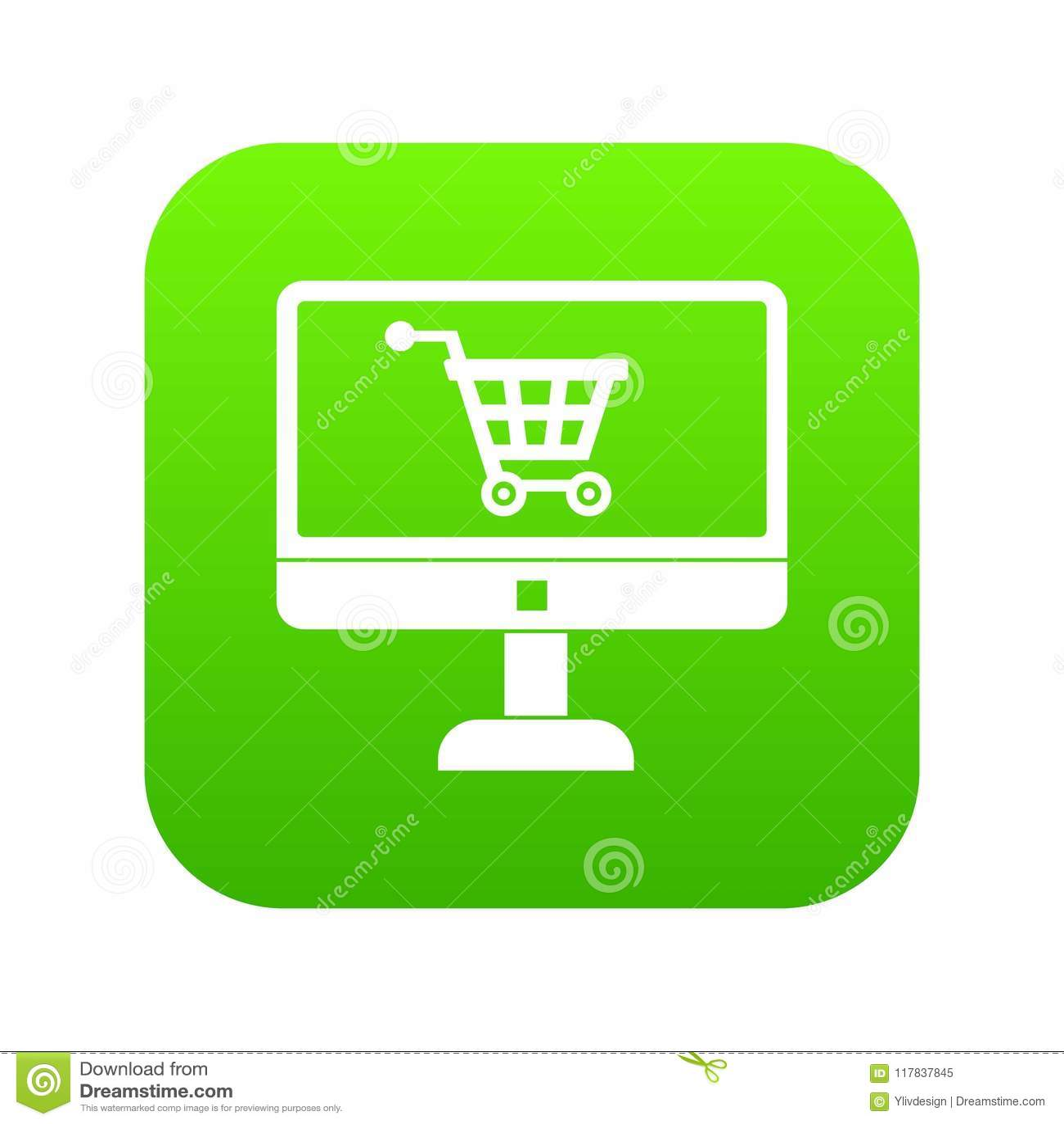 Приобретение на онлайн магазине через зеленый цвет значка компьютера цифровой