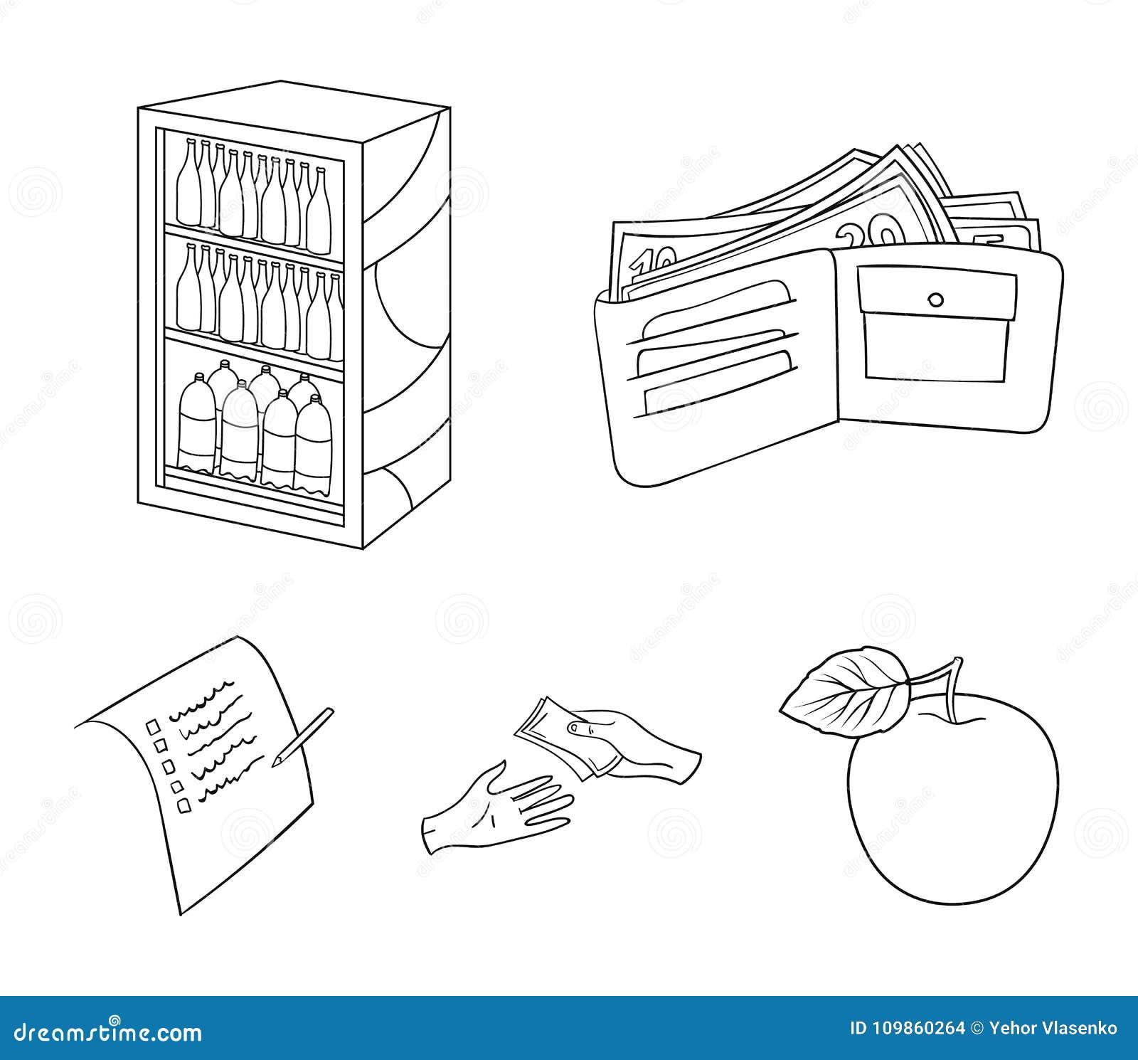 Приобретение, товары, покупки, витрина Значки собрания супермаркета установленные в плане вводят иллюстрацию в моду запаса символ