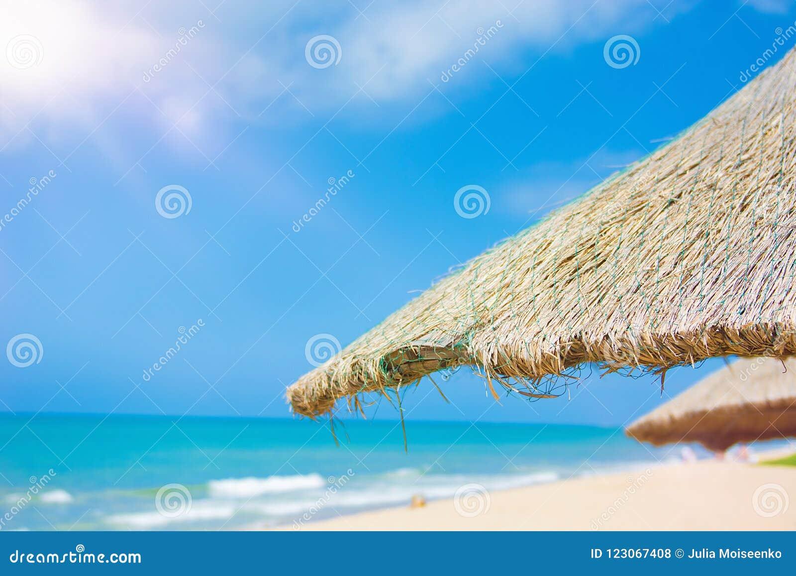 Пристаньте красивые покрыванные соломой зонтики к берегу и яркое море бирюзы, большое воссоздание и релаксацию рай тропический