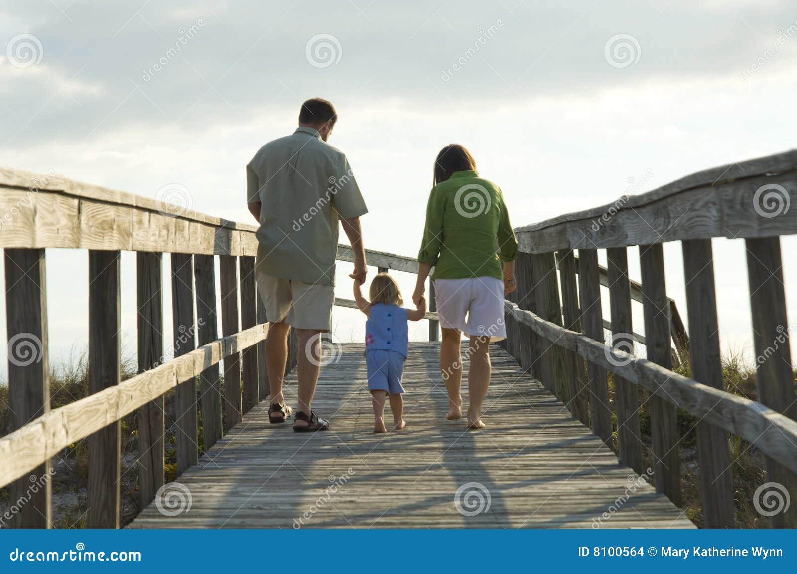 пристаньте семью к берегу идя к