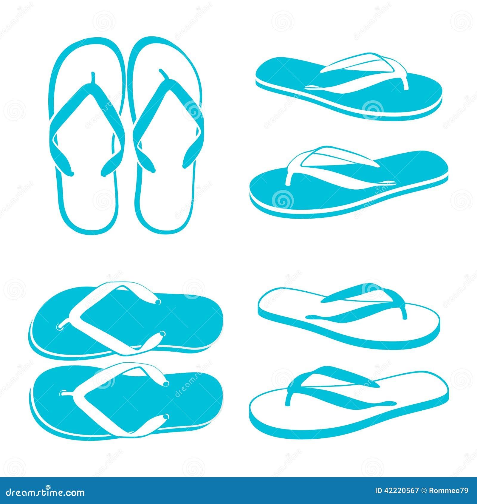 пристаньте цветастые различные сандалии к берегу веревочки flops flip повиснутые