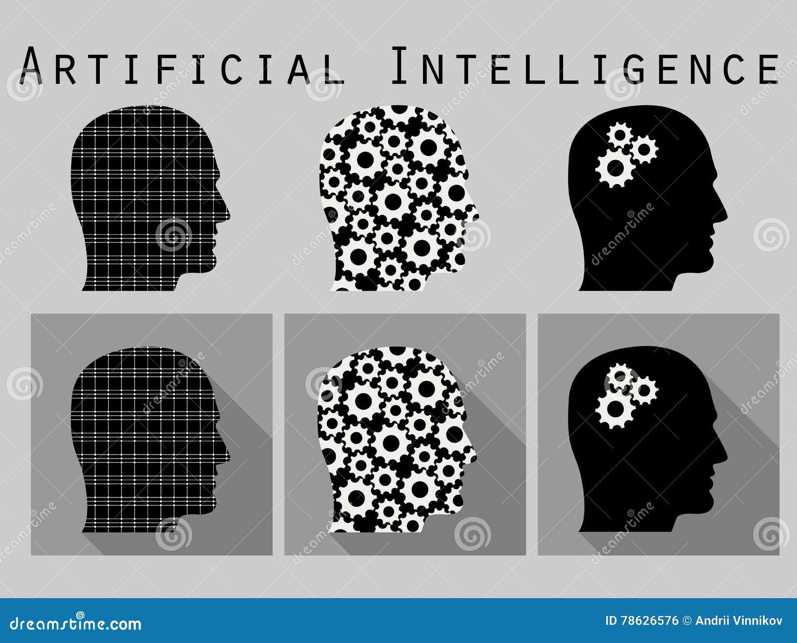 приходя головной человек вне silhouette слова Искусственный интеллект, голова с шестернями Комплект значка в плоском дизайне с дл