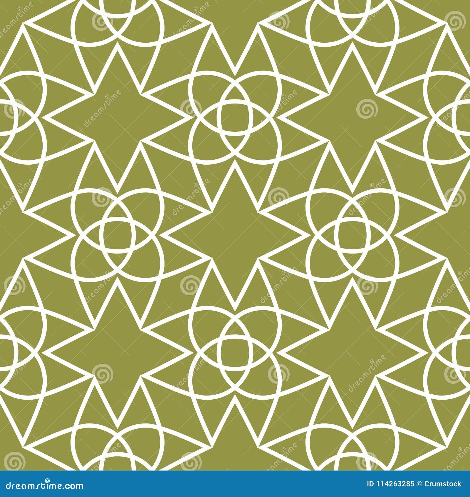 Прованский орнамент зеленого цвета и белых геометрический картина безшовная
