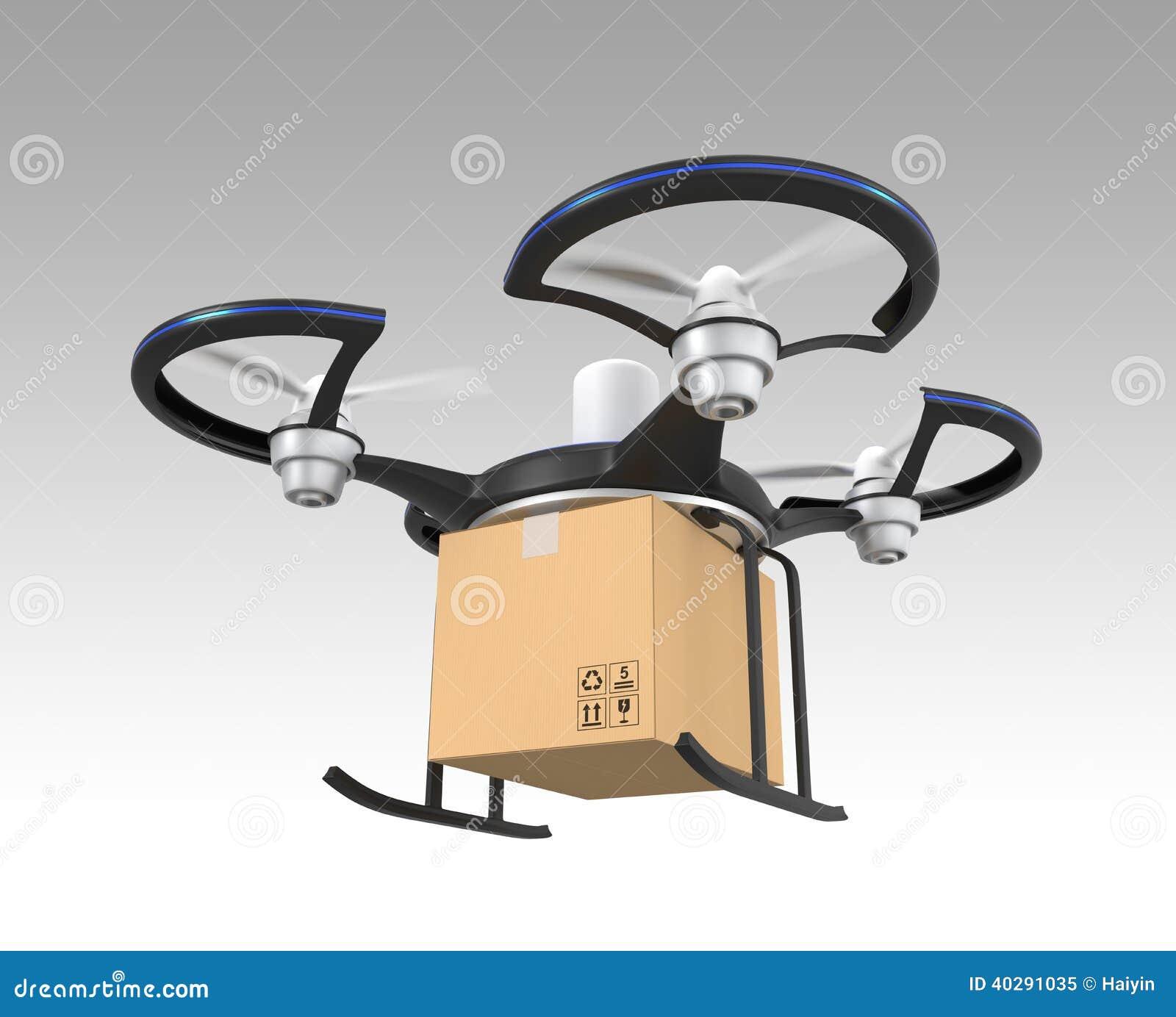 Проветрите трутня с пакетом коробки на серой предпосылке