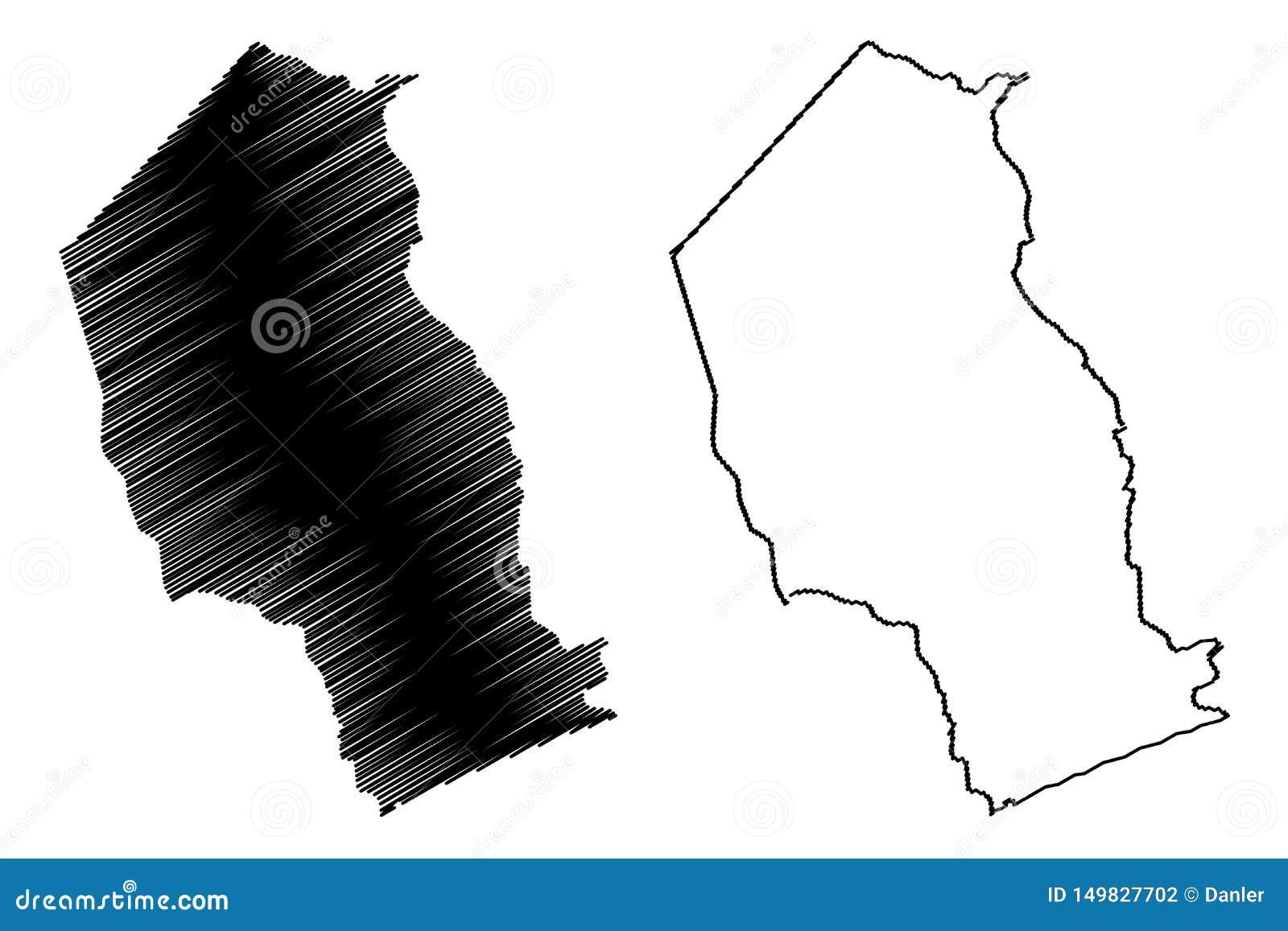 Провинции провинции Газа Мозамбика, республики иллюстрации вектора карты Мозамбика, карты Газа эскиза scribble