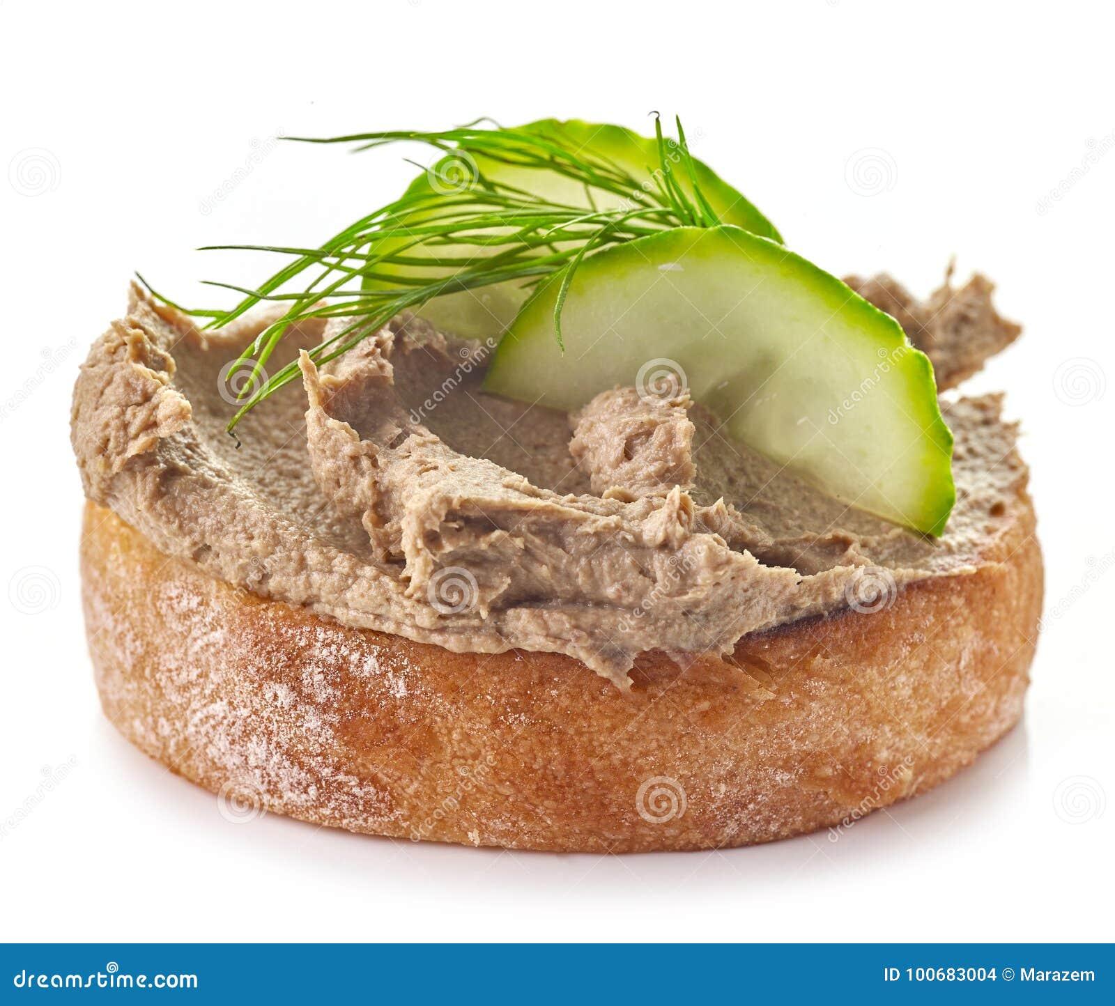 Провозглашанный тост хлеб с домодельным pate печени