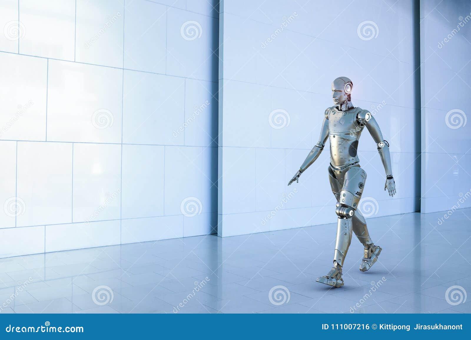Прогулка робота гуманоида